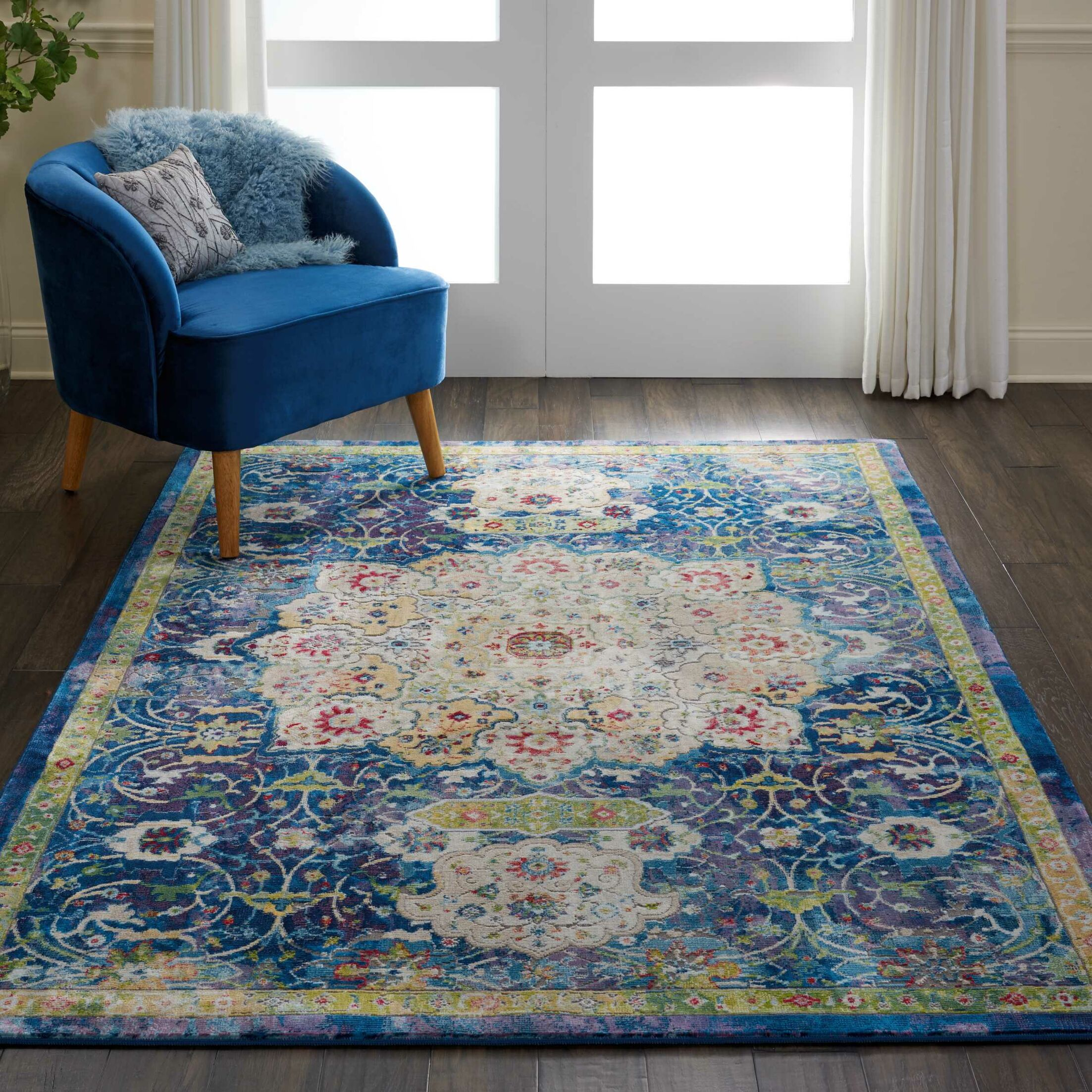 Oglethorpe Power Loom Blue/Cream Area Rug Rug Size: Rectangle 7'10