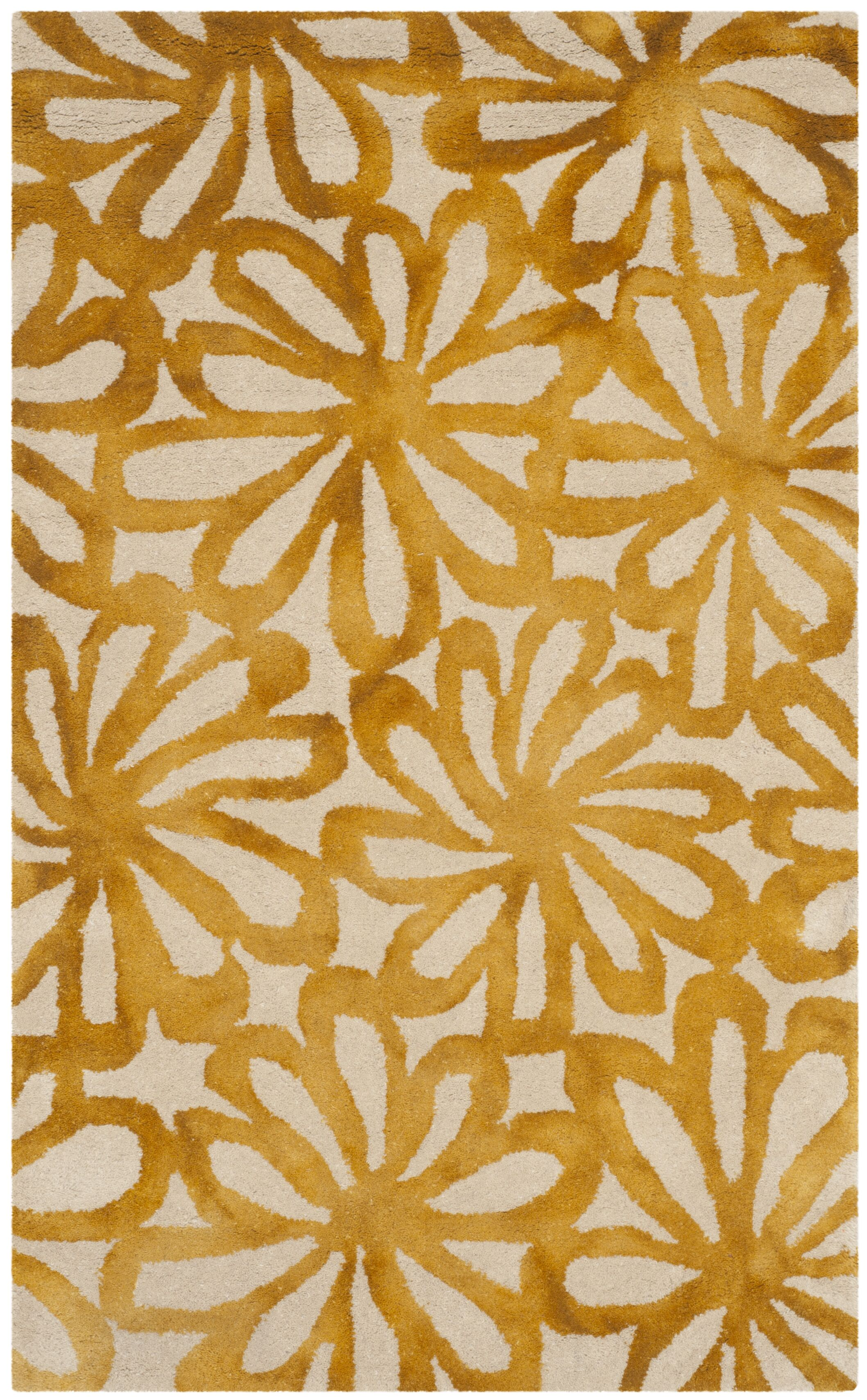 Hand-Tufted Beige & Gold Area Rug Rug Size: Rectangle 3' x 5'