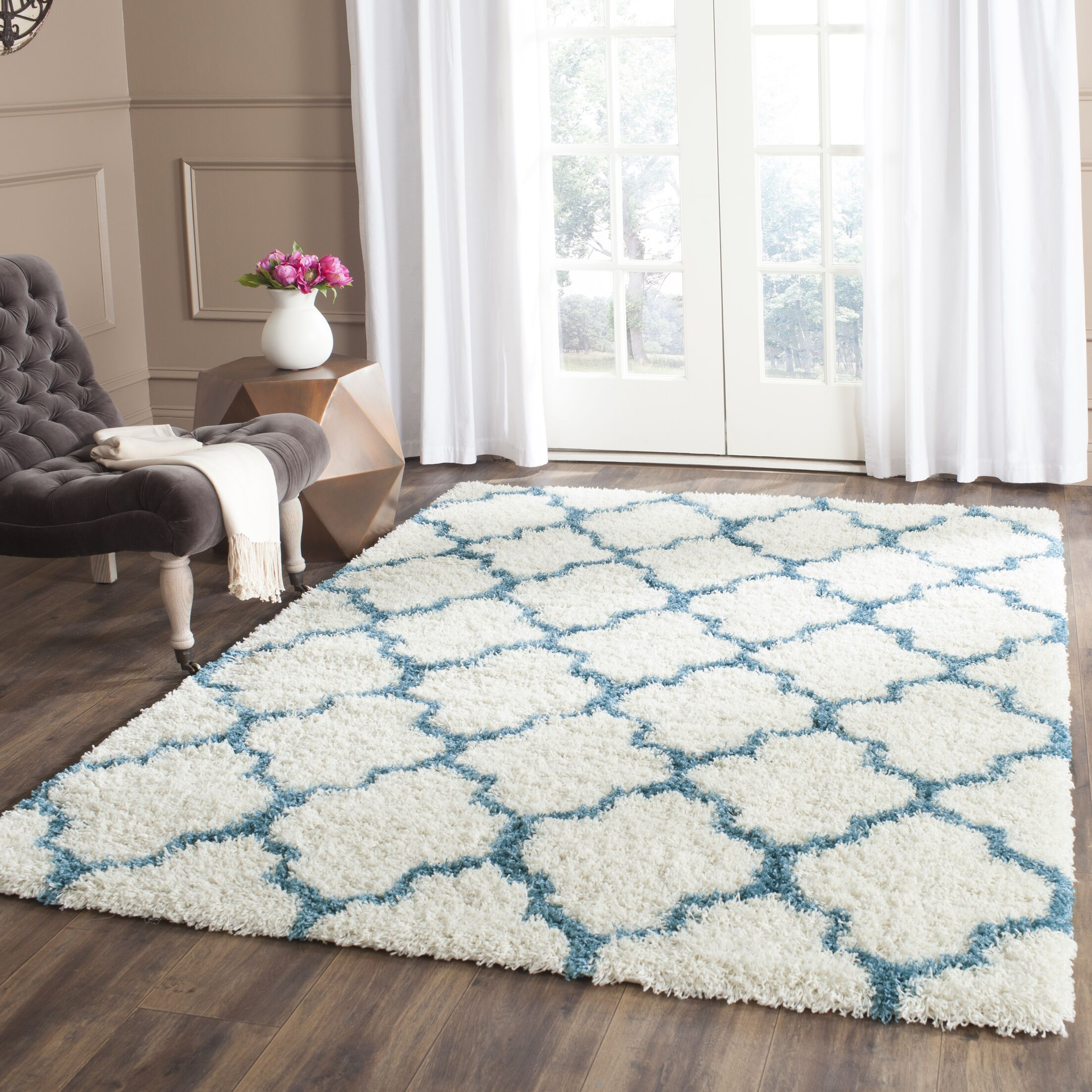 Martin Kids Ivory/Blue Area Rug Rug Size: Rectangle 8'6