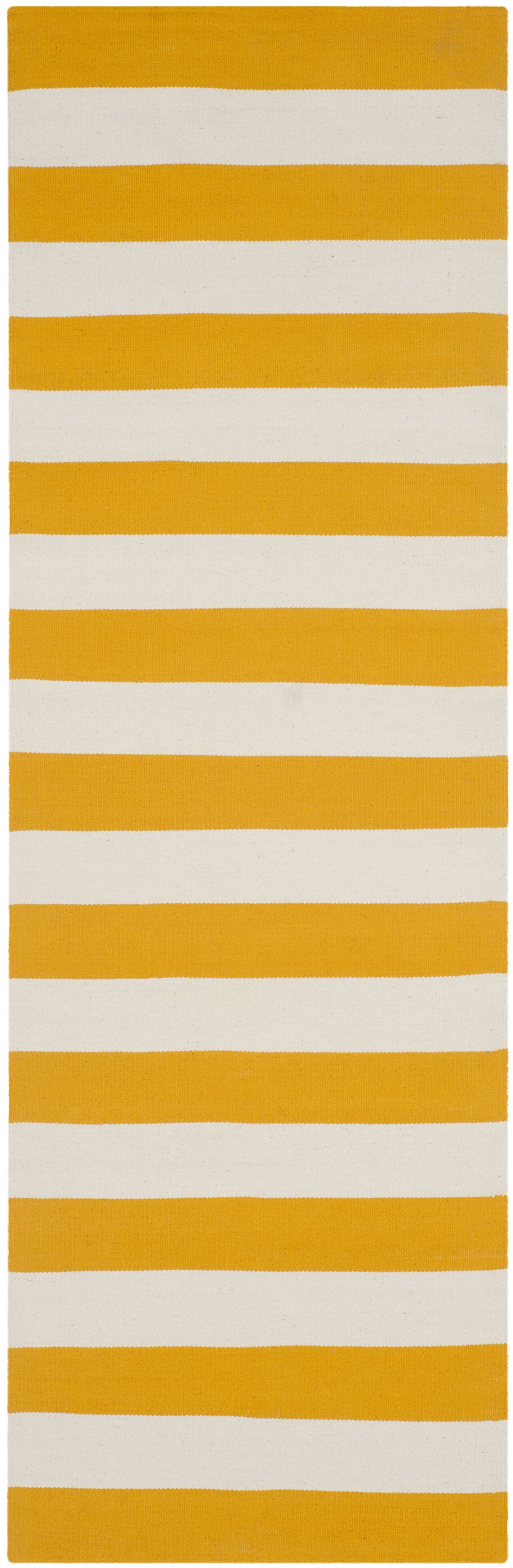Ike Hand-Woven Yellow/White Area Rug Rug Size: Runner 2'3