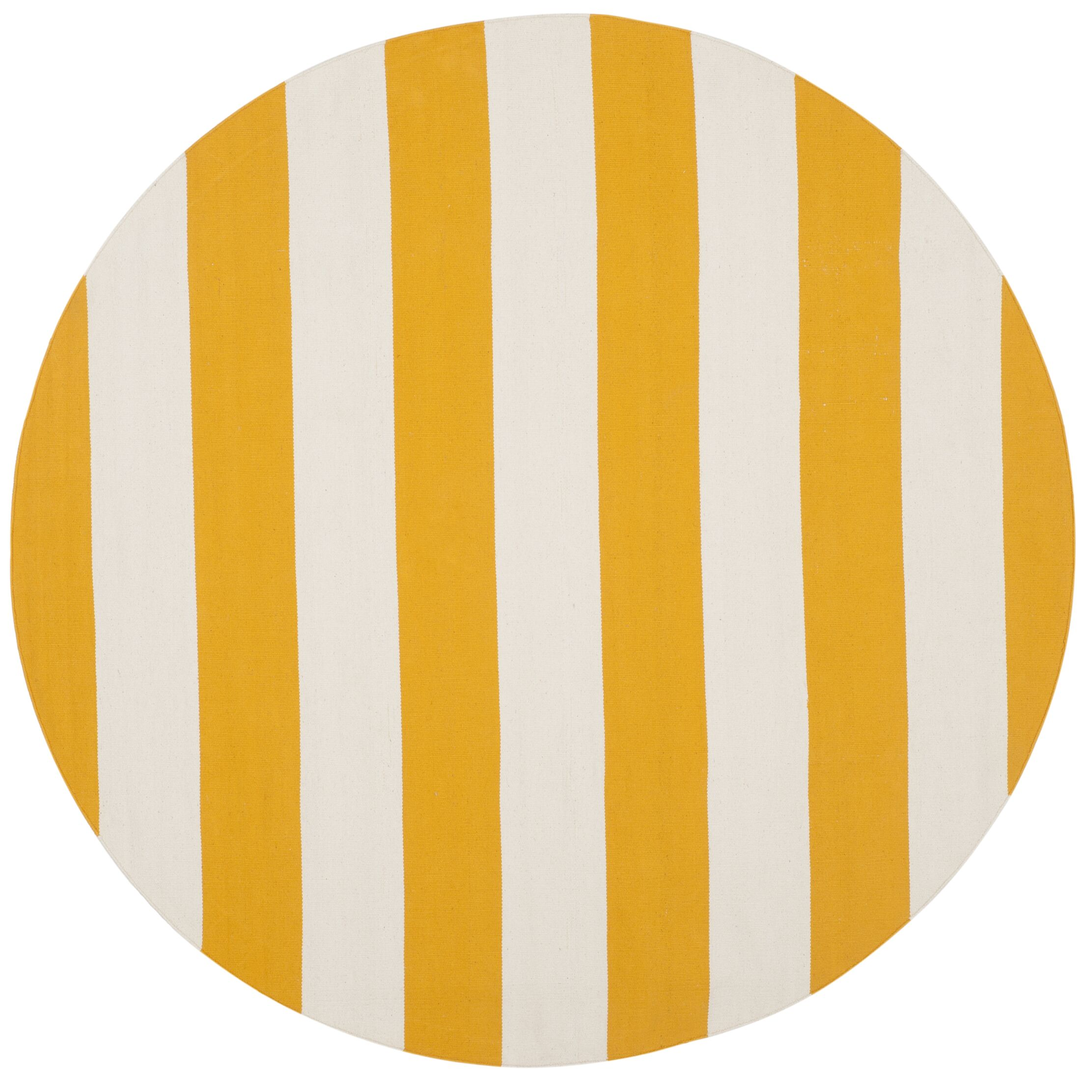 Ike Hand-Woven Yellow/White Area Rug Rug Size: Round 8'