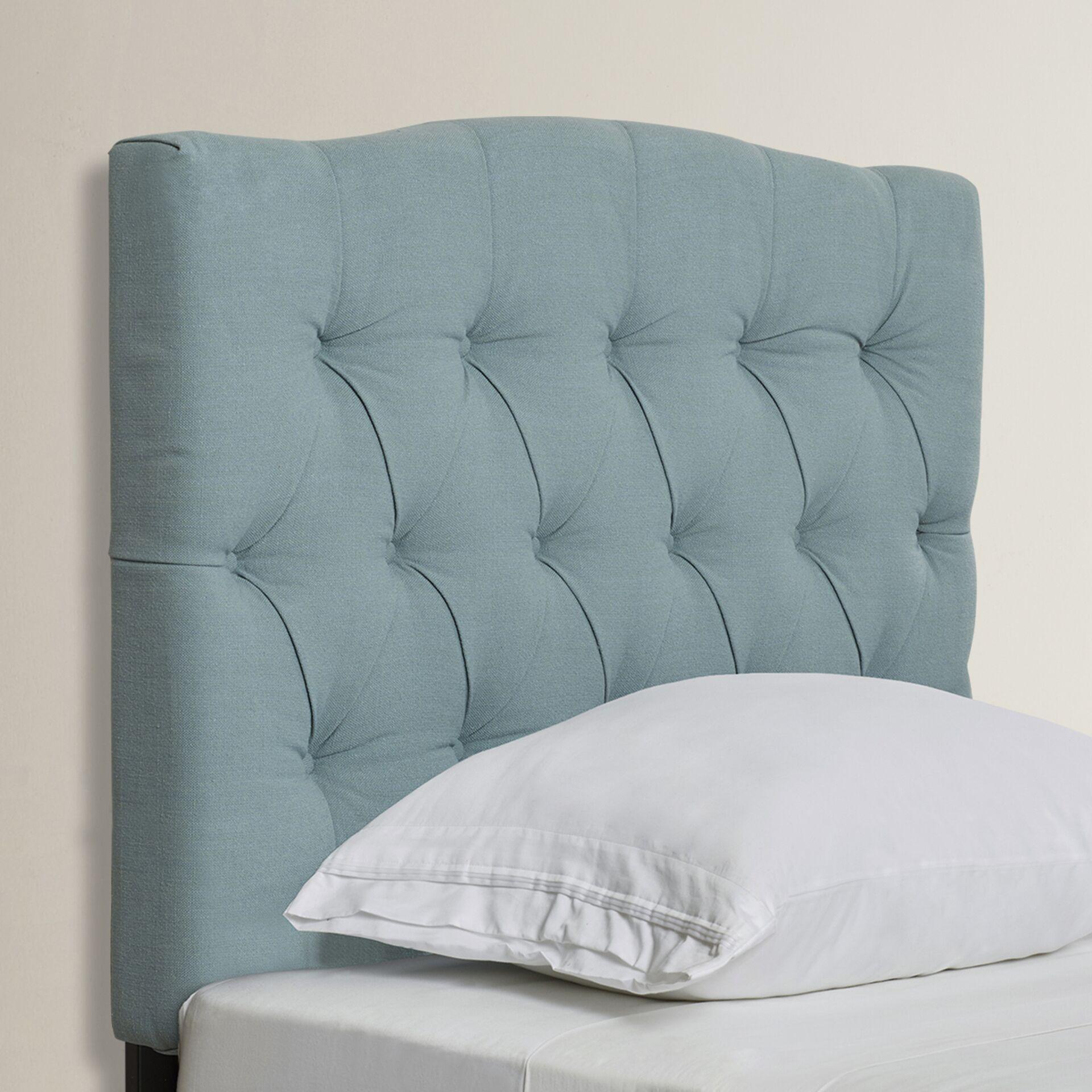 Ellecourt Upholstered Panel Headboard Size: Full, Upholstery: Polyester Sky Blue