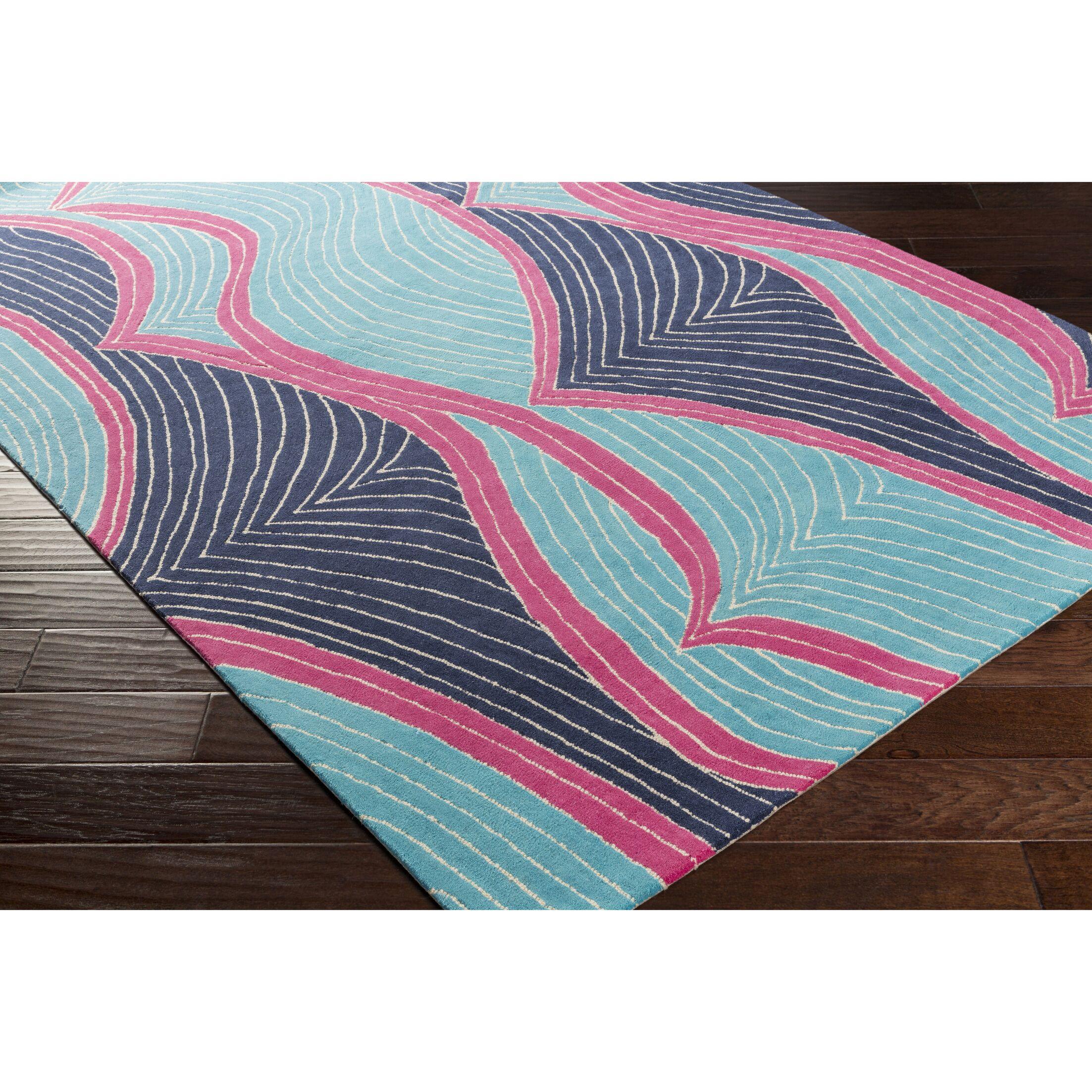 Cleo Hand-Tufted Blue/Purple Area Rug Rug Size: Rectangle 7'6