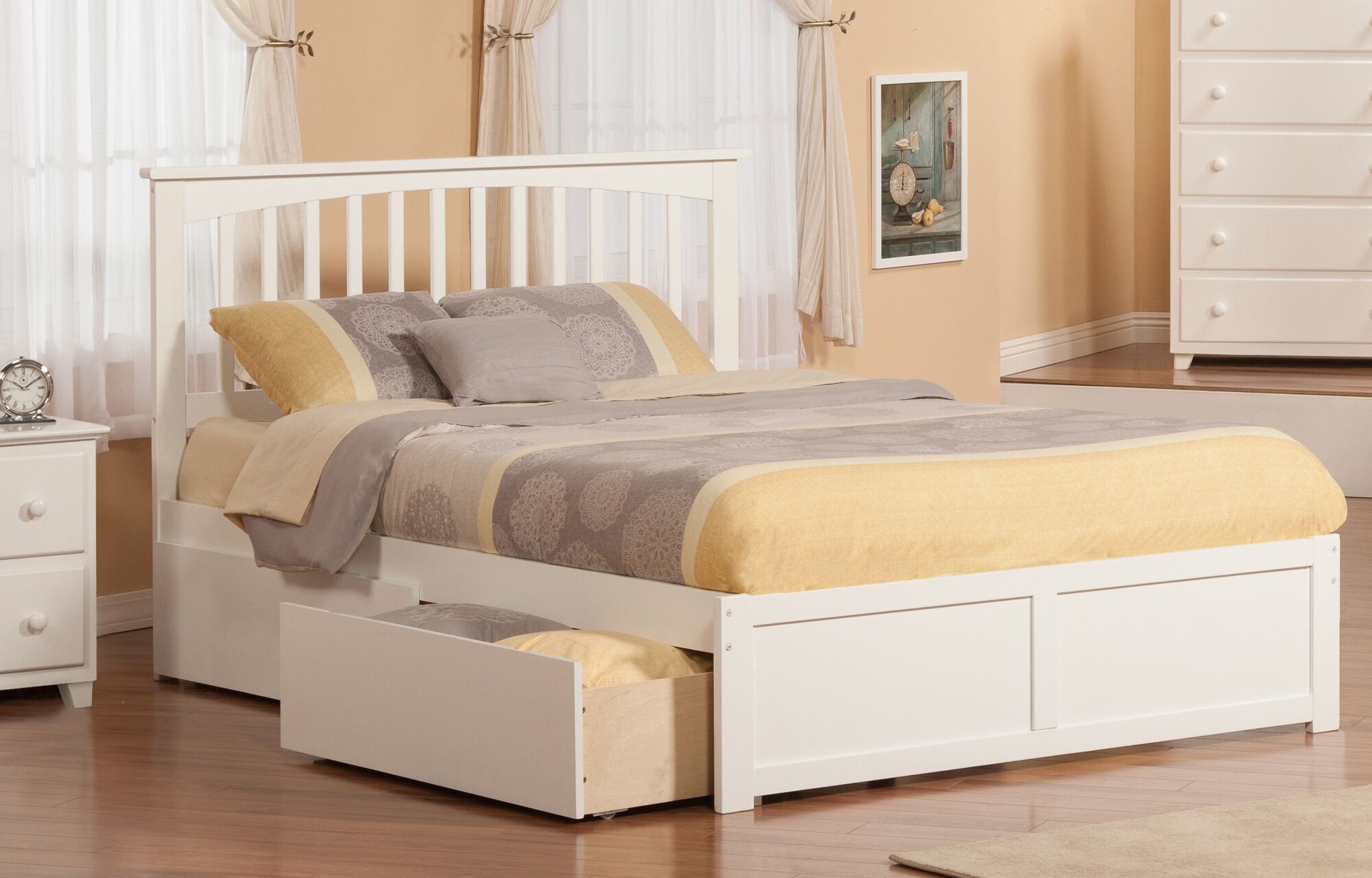 Tejeda Storage Platform Bed Size: Queen, Color: White