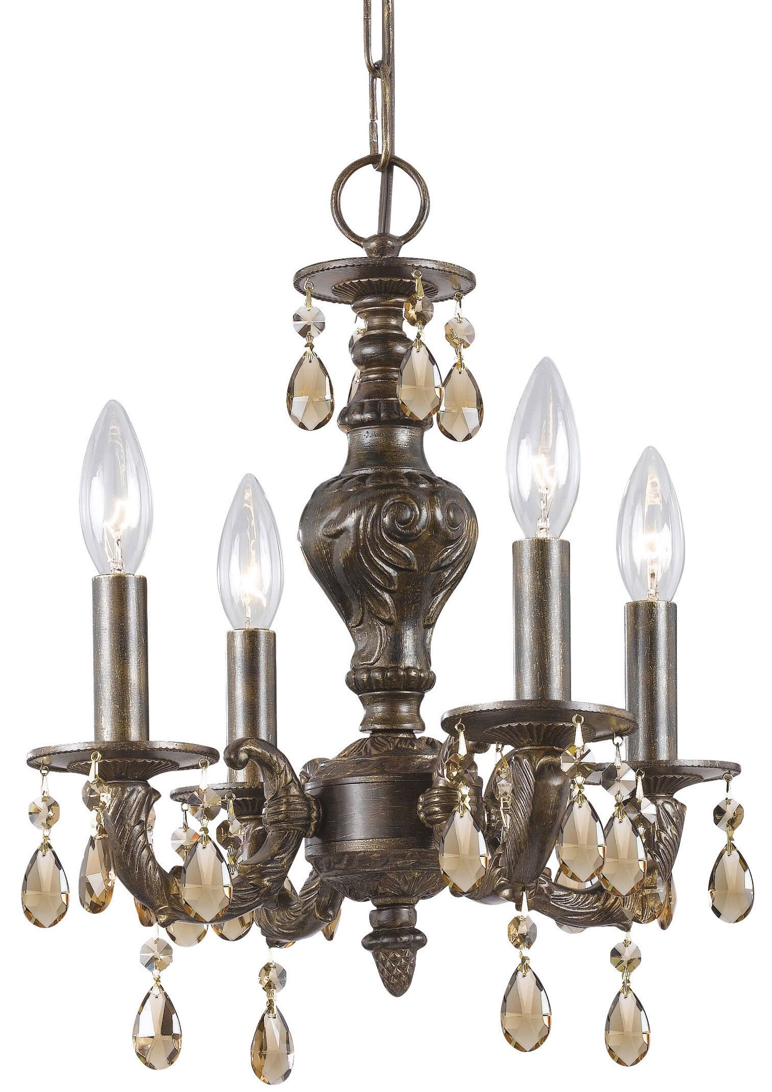 Odessa 4-Light Candle Style Chandelier Crystal: Golden Teak Swarovski Strass, Finish: Ventian Bronze