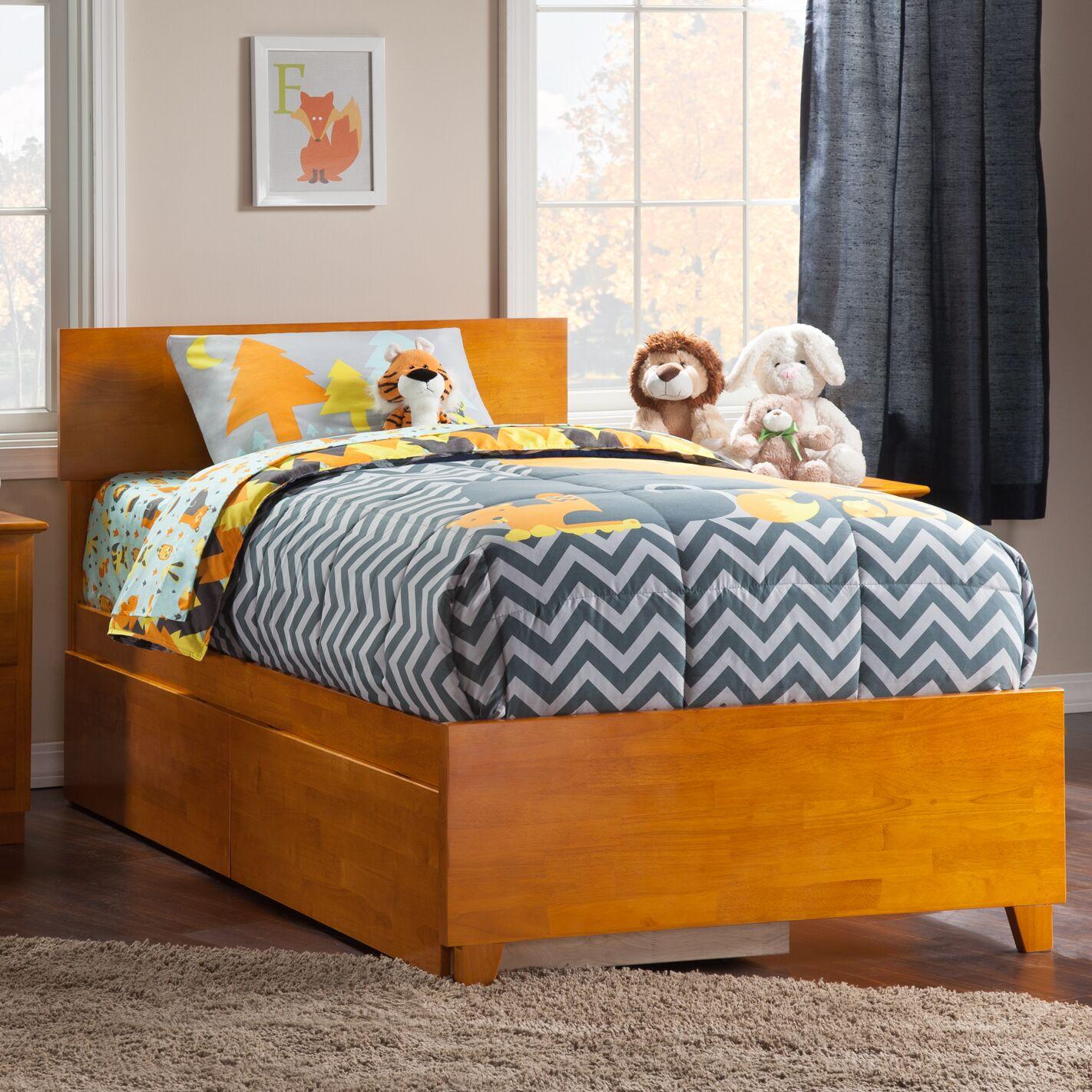 Mathias Storage Platform Bed Size: Queen, Color: Antique Walnut