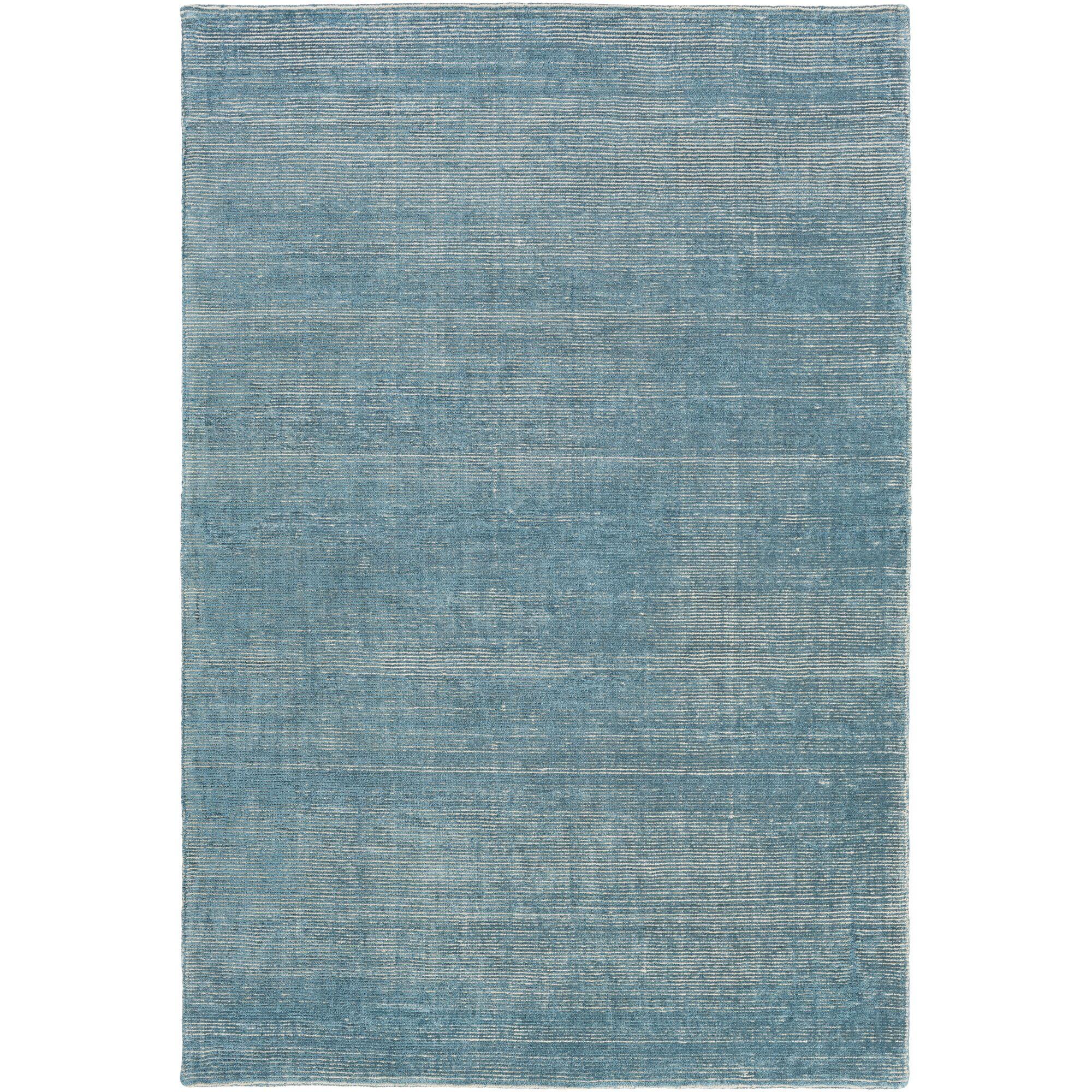 Codey Hand-Loomed Aqua/Khaki Area Rug Rug Size: Rectangle 6' x 9'