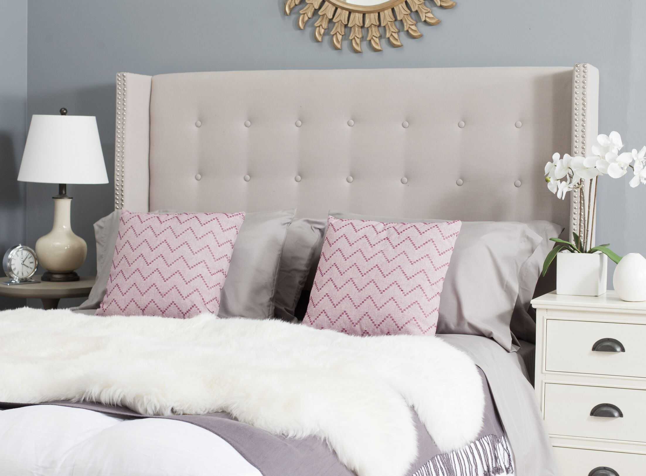 Keisha Upholstered Wingback Headboard Upholstery: Linen Parchment, Size: Twin