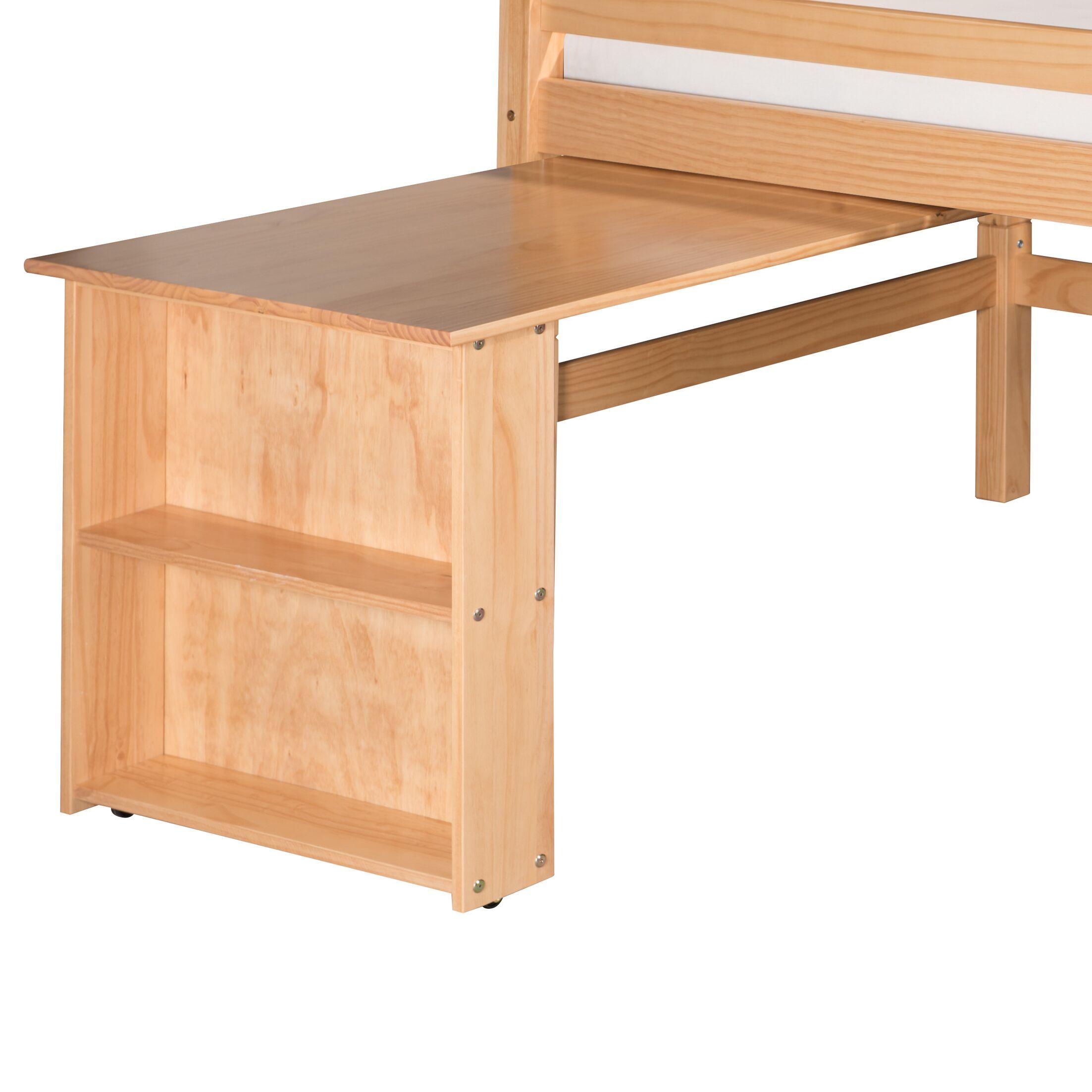 Isabelle Low Loft Bed Retractable Desk Color: Natural