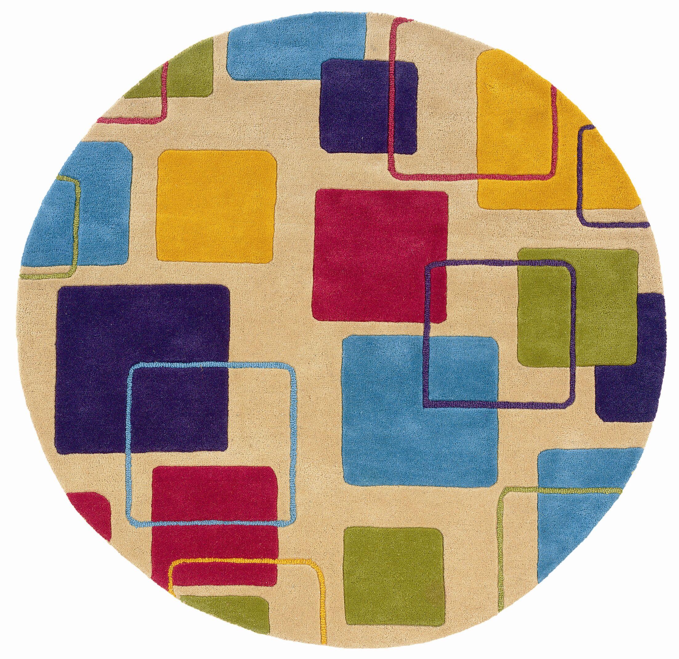Leanne Ivory Geometric Squares Rug Rug Size: Round 7'9