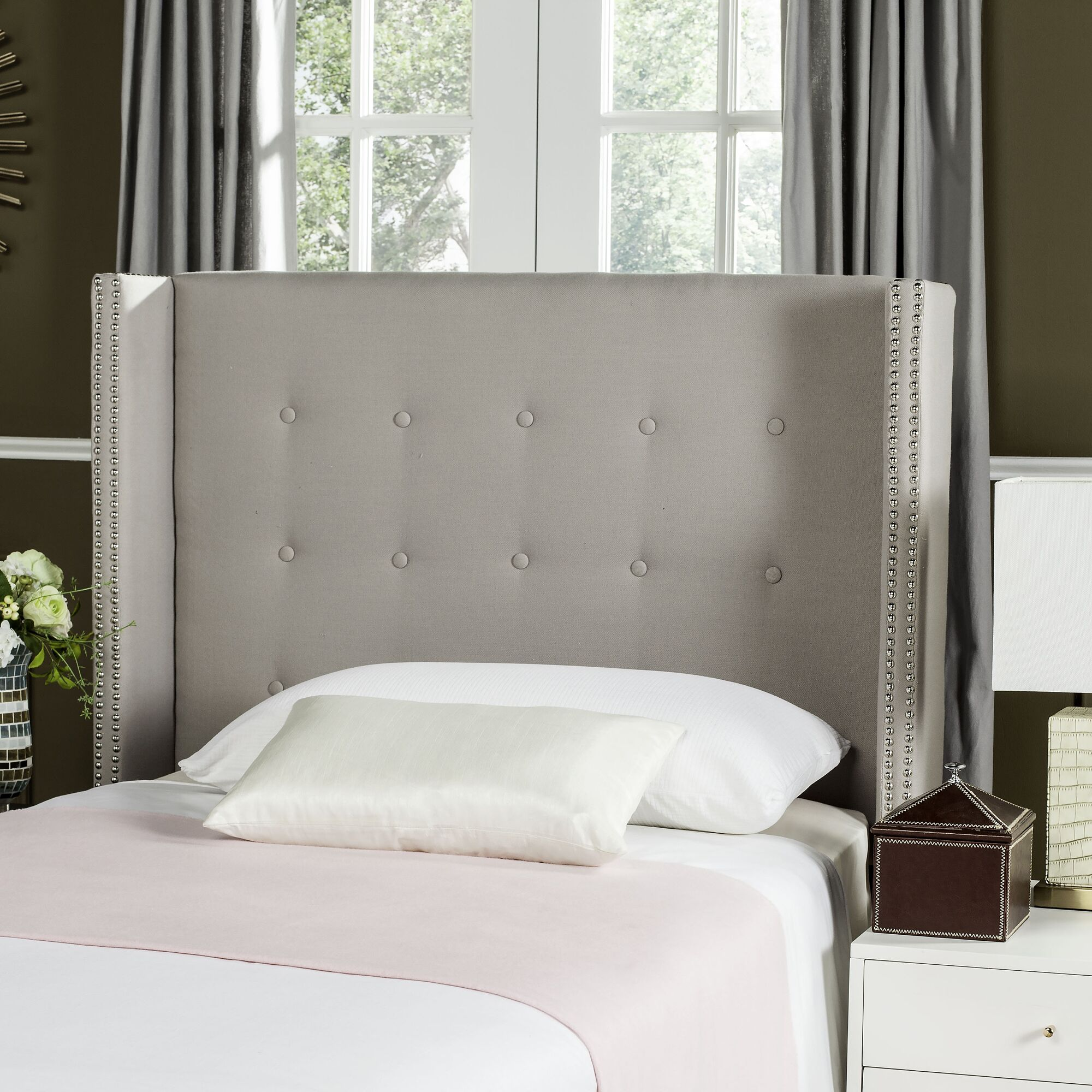 Keisha Upholstered Wingback Headboard Size: Queen, Upholstery: Linen Taupe