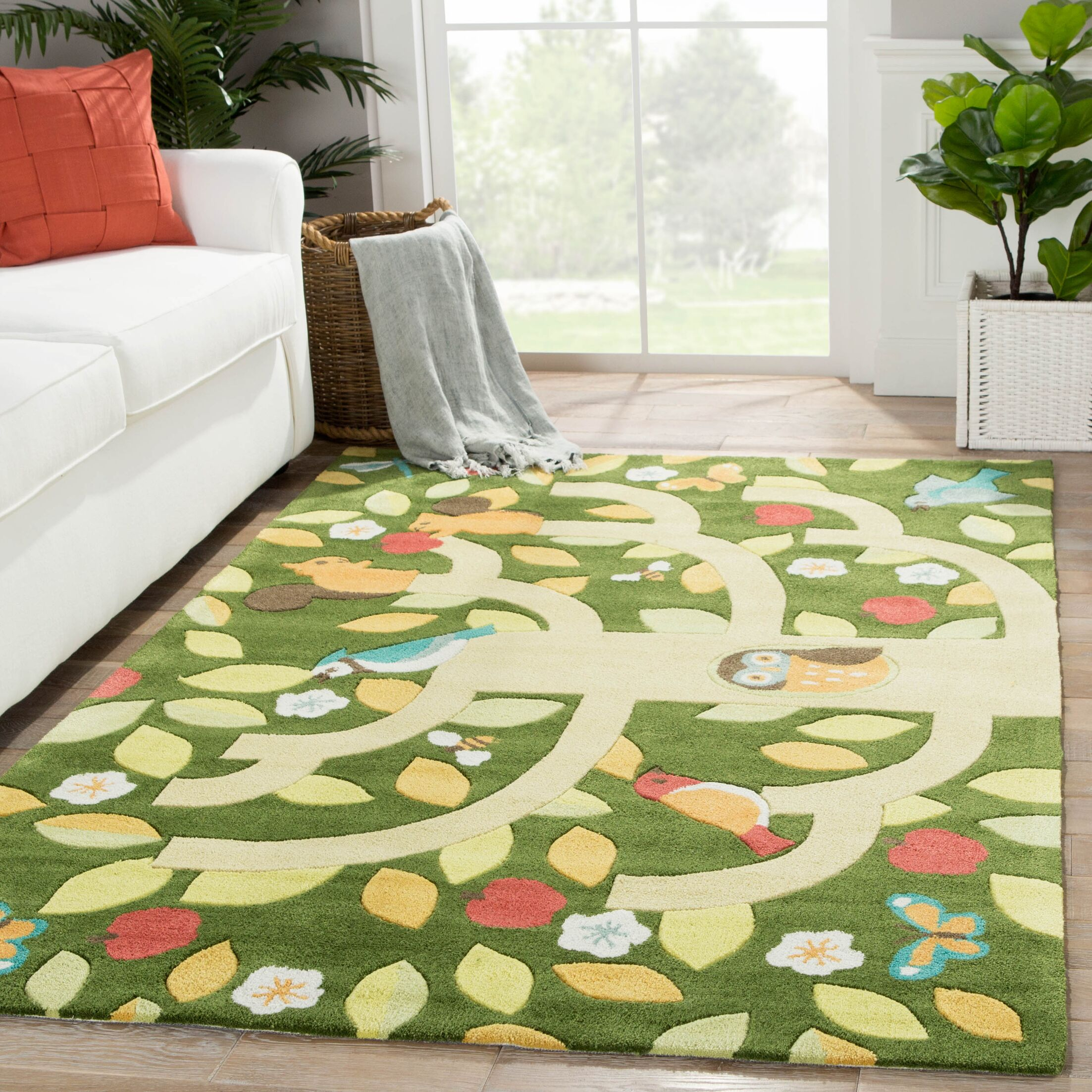 Annie Hand-Tufted Green/Yellow Area Rug Rug Size: Rectangle 3' x 5'