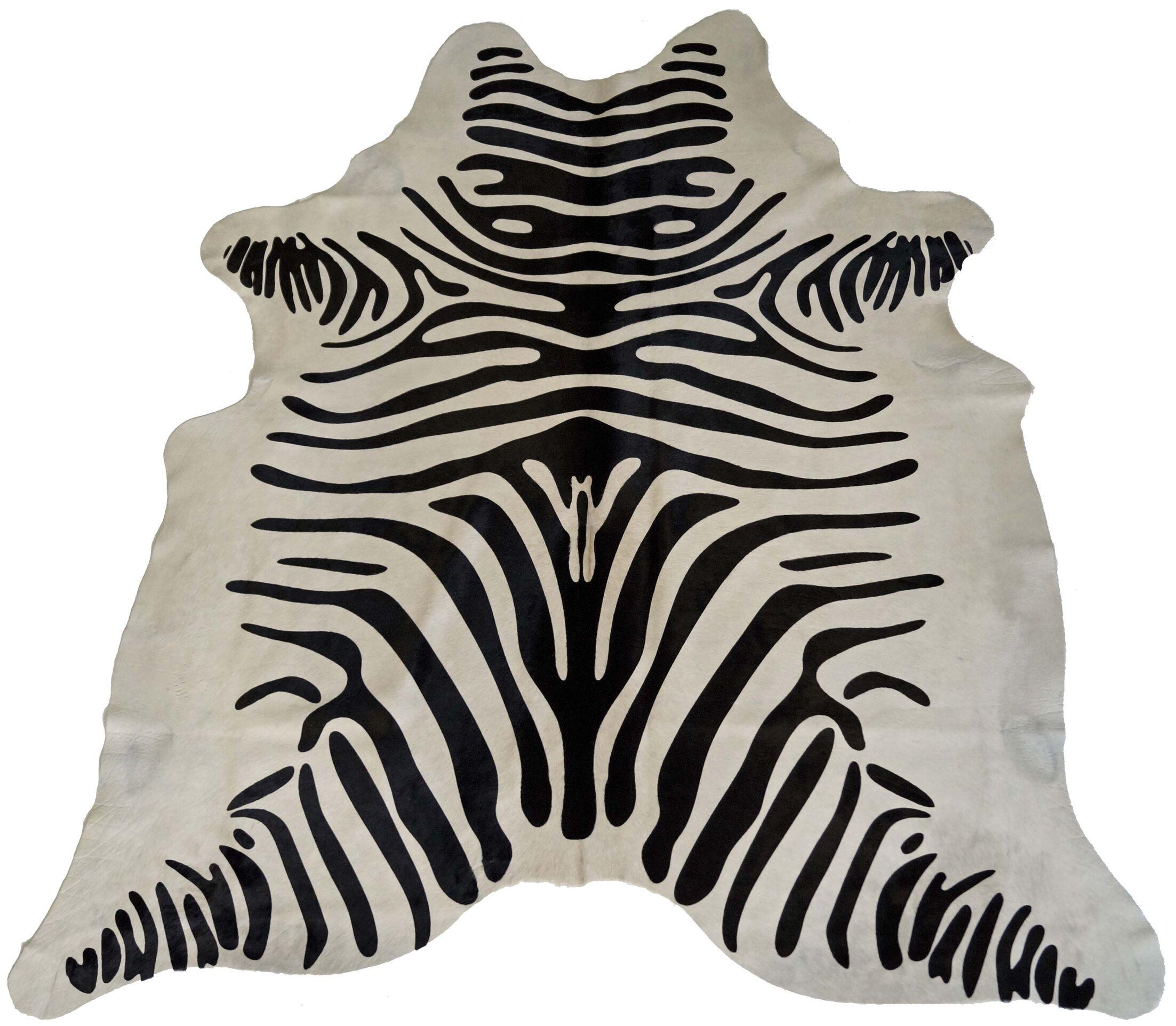 Designer Cowhides Printed Zebra Black/White Area Rug