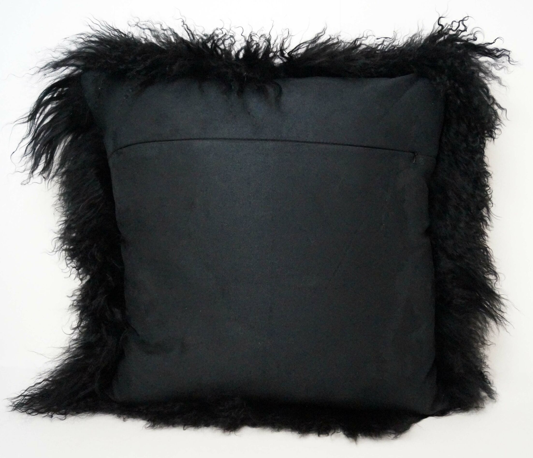 Tibetan Lamb Fur Throw Pillow Color: Black, Size: 20