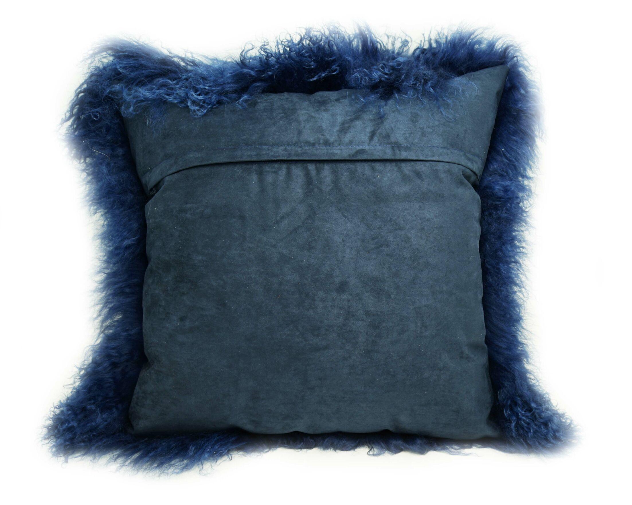 Tibetan Lamb Fur Throw Pillow Color: Nautical Blue, Size: 20