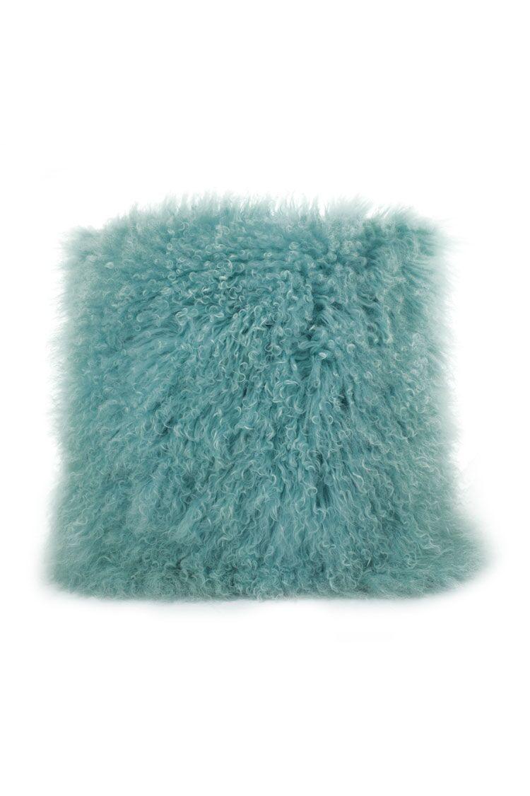 Tibetan Lamb Fur Throw Pillow Color: Light Teel, Size: 20