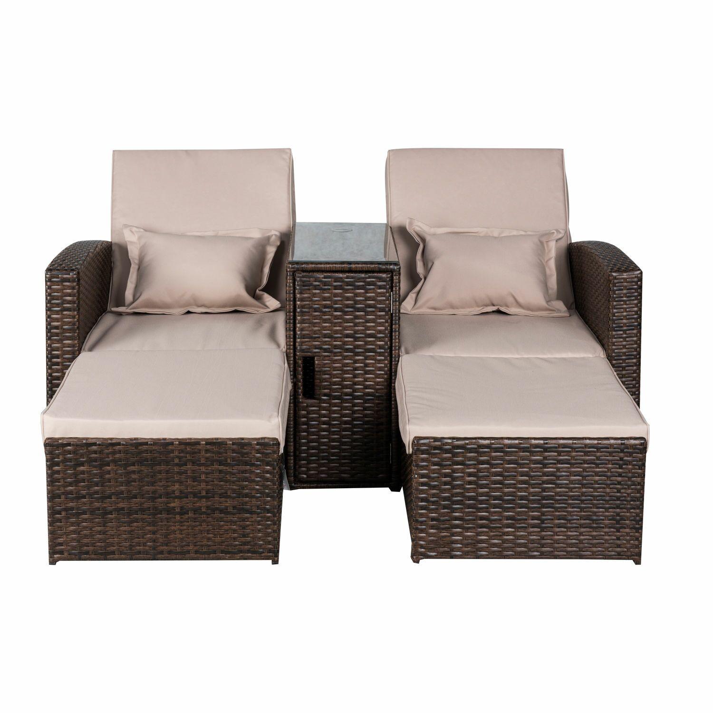 Americana 3 Piece Outdoor Rattan Wicker Chaise Lounge