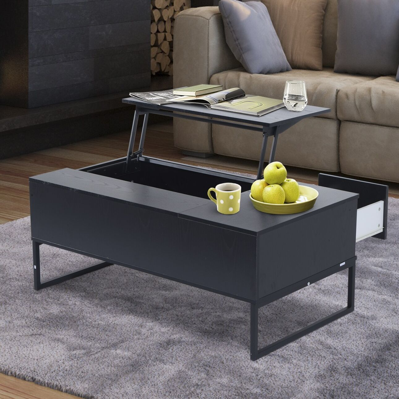 Modern Lift Top Coffee Table with Storage Color: Black