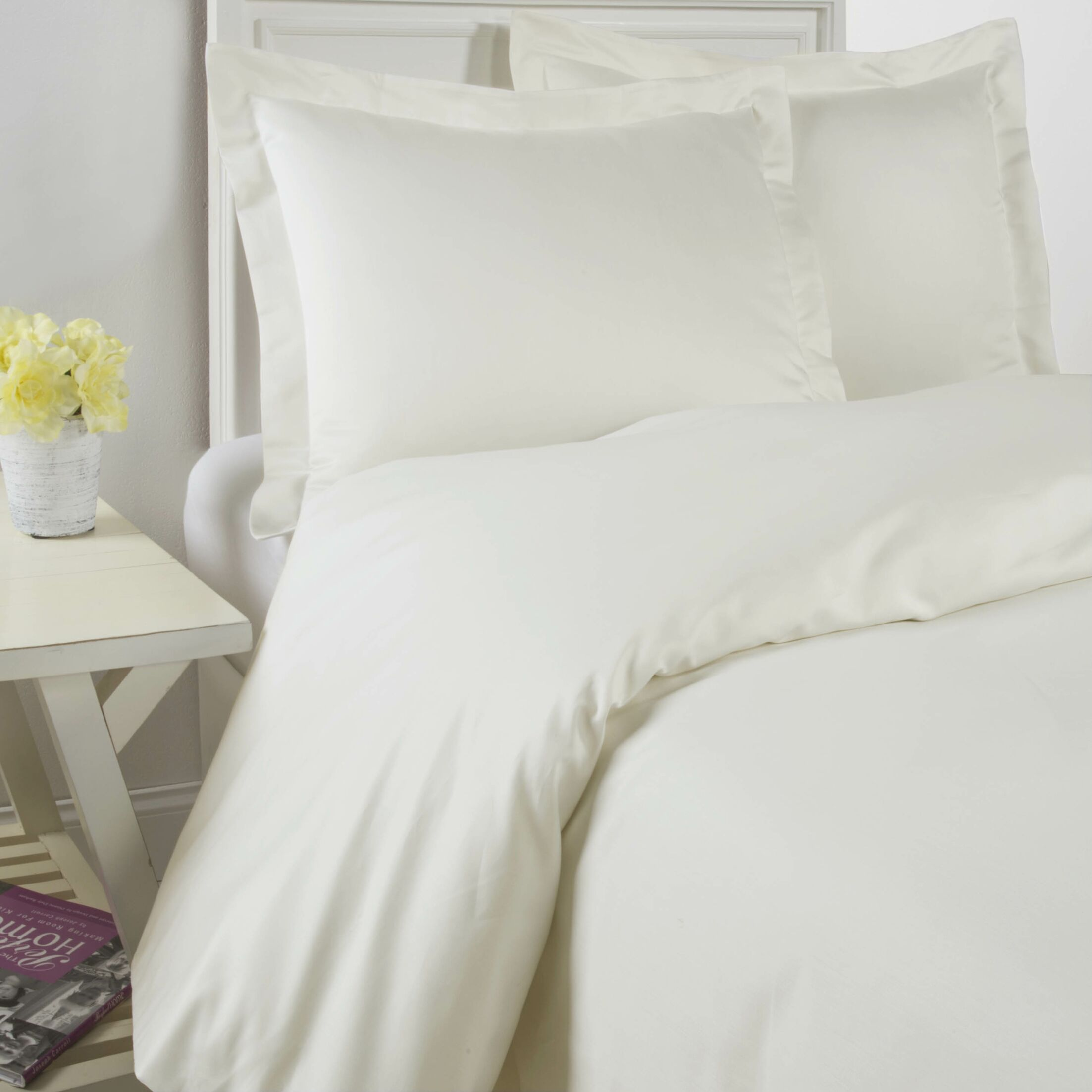 1200 Thread Count 100% Cotton Sheet Set Color: Ivory, Size: Queen
