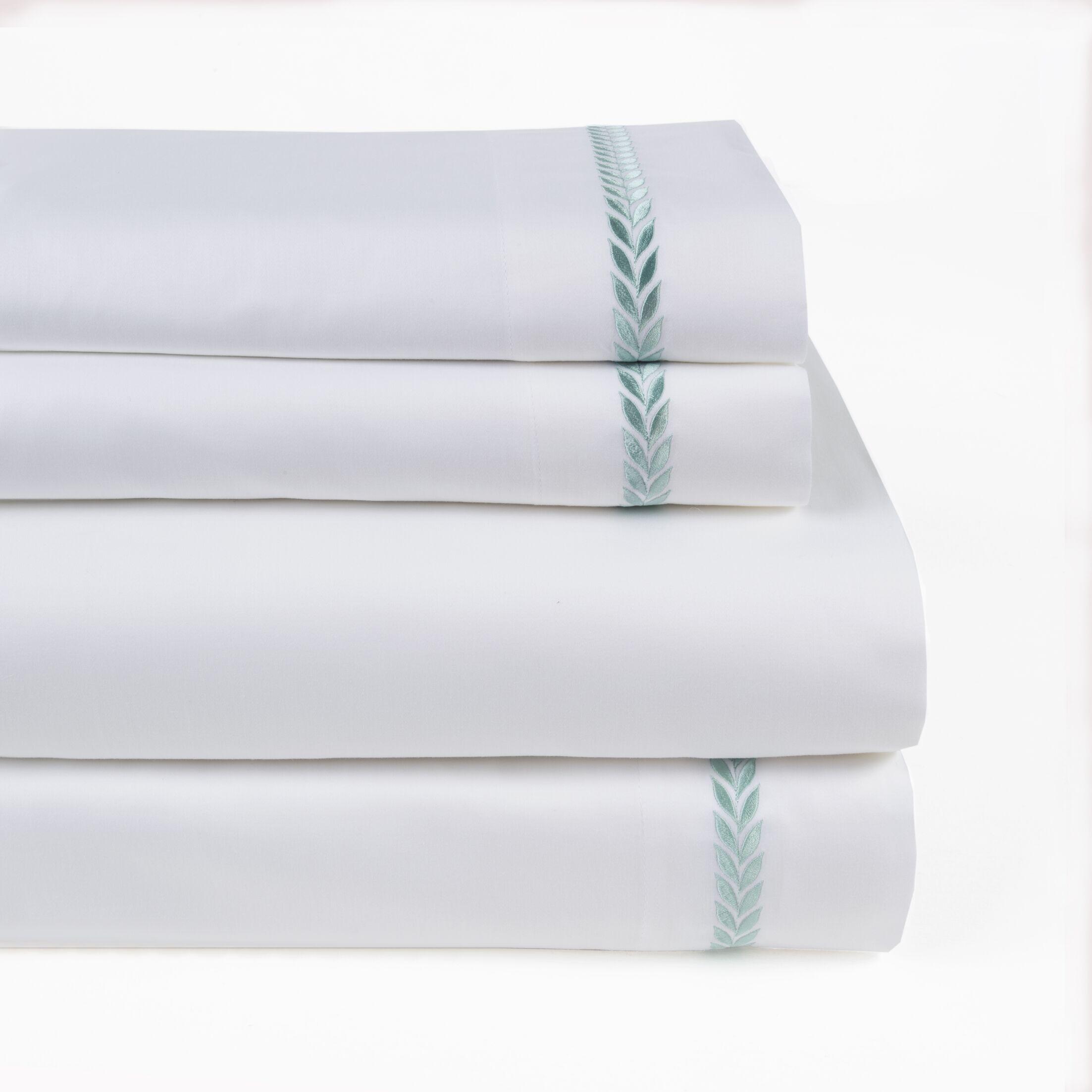 Proctor Leaf Embroidered 300 Thread Count 100% Cotton Sheet Set Size: King, Color: Mint