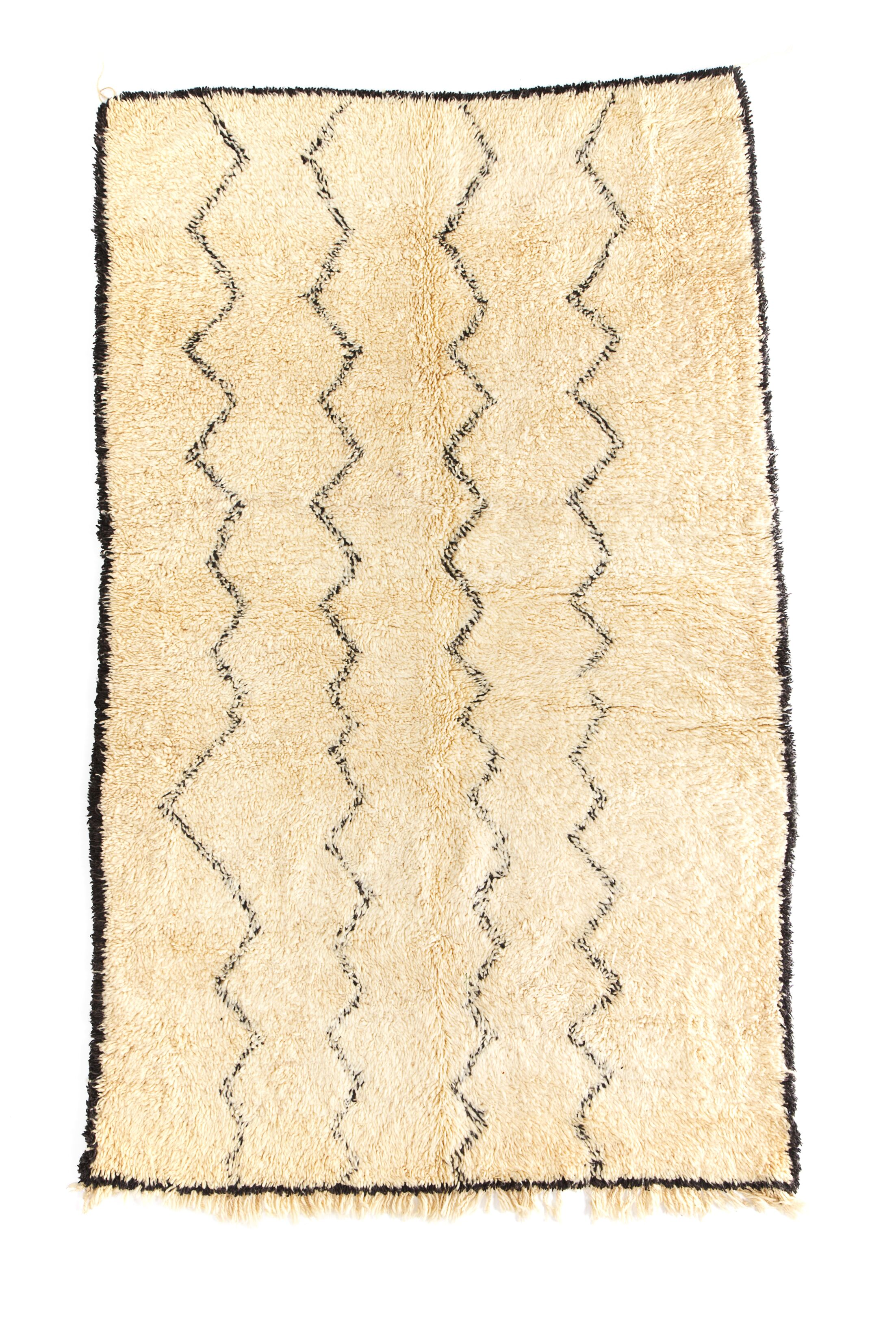 Beni Ourain Hand-Knotted Ivory Area Rug Rug Size: 5'3
