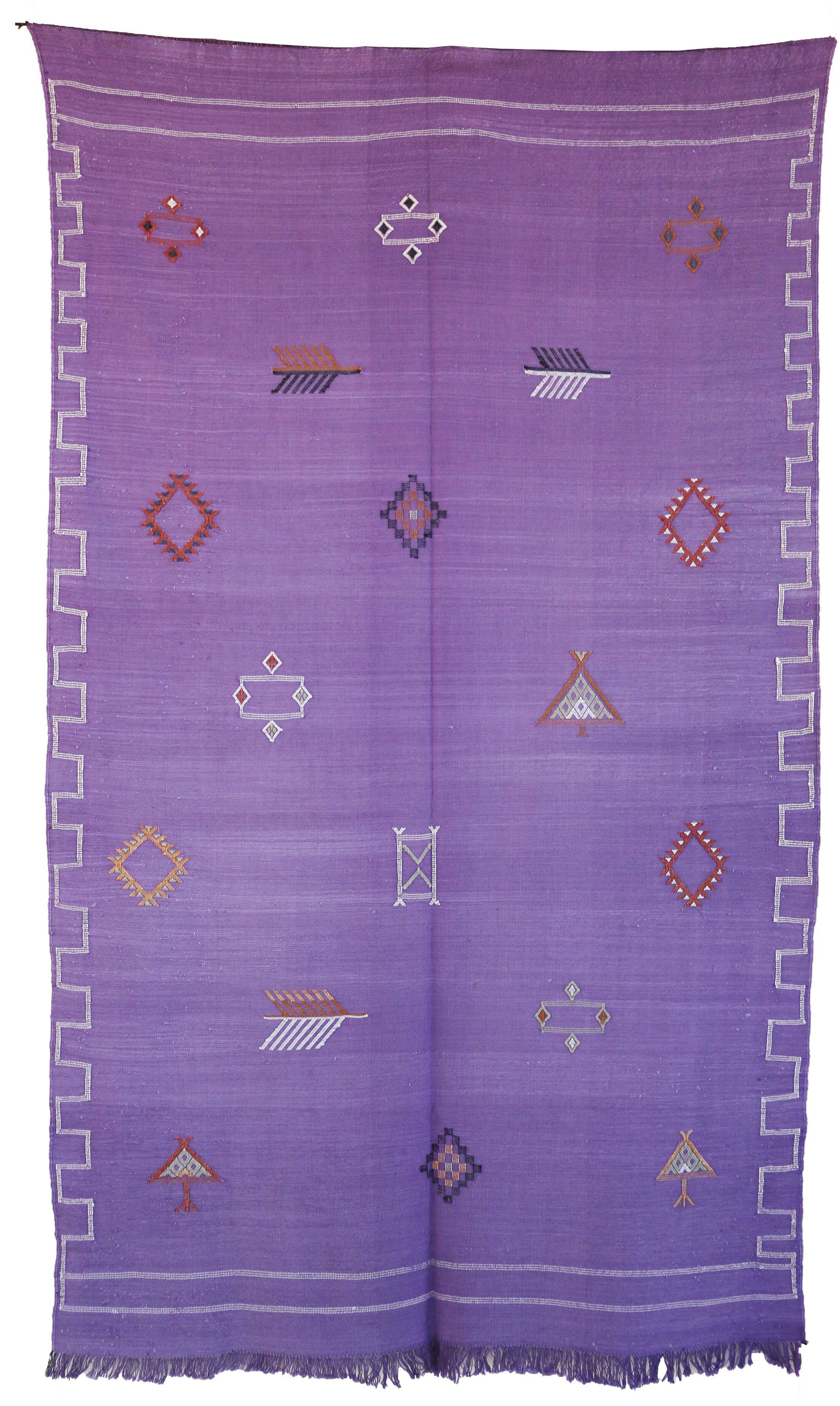 Moroccan Hand Woven Silk Purple Area Rug