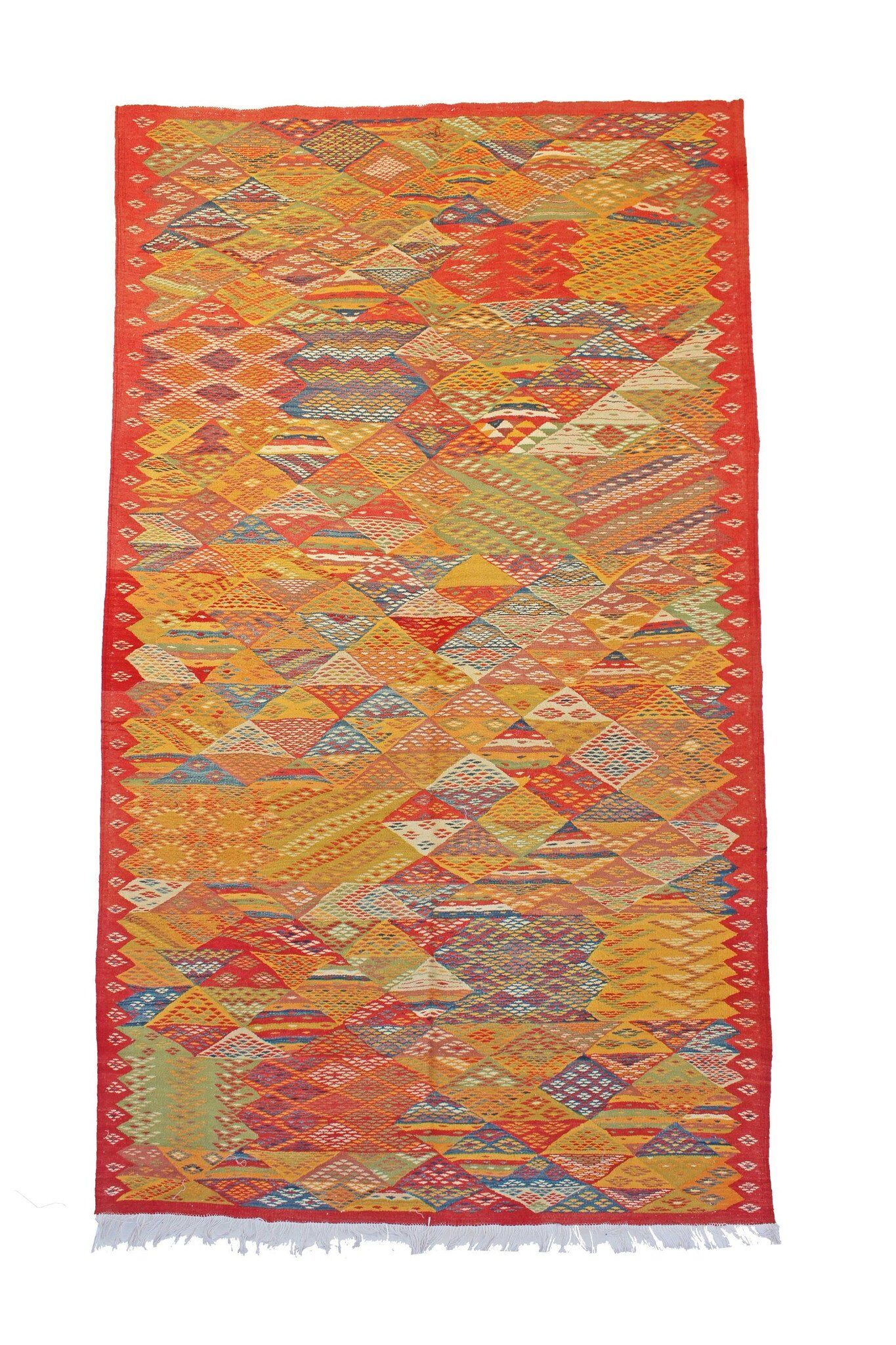 Aknif Moroccan Hand Knotted Wool Yellow/White Area Rug