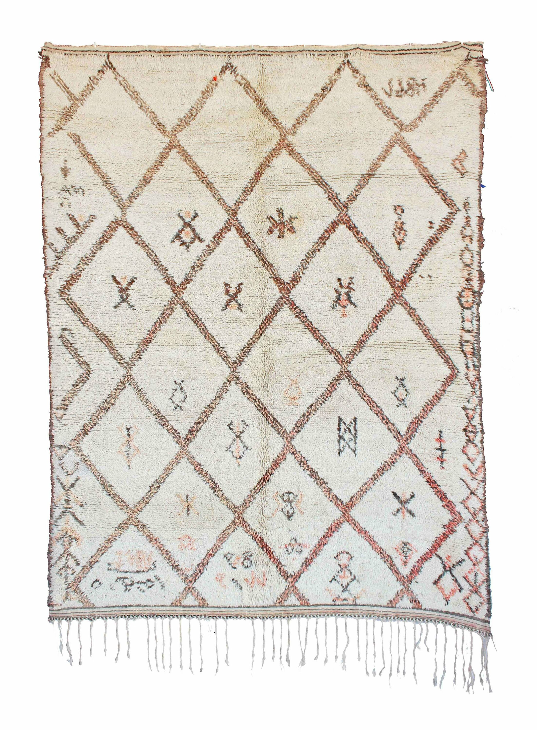 Beni Ourain Vintage Moroccan Hand Knotted Wool Cream Area Rug