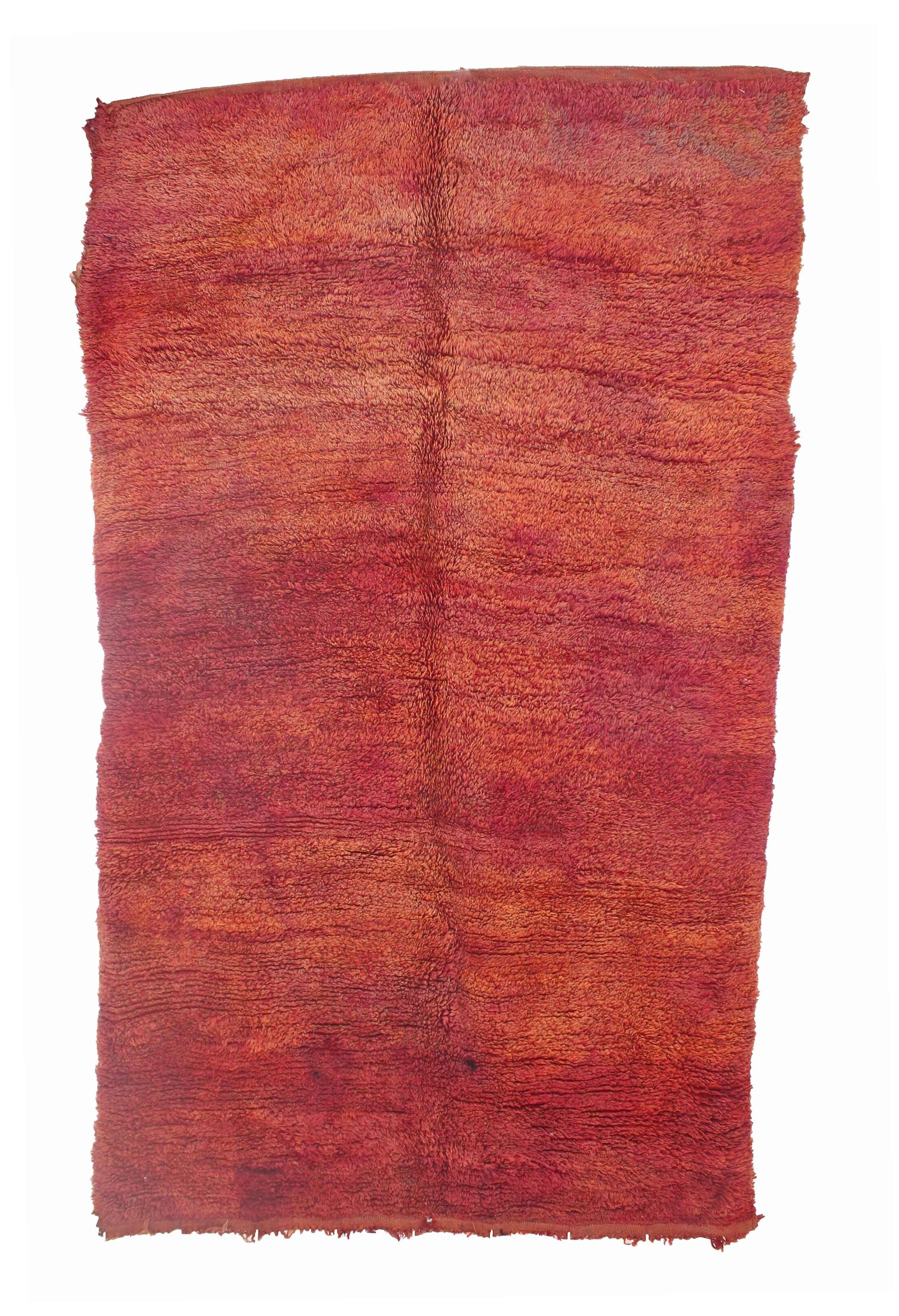 Beni M'Guild Vintage Moroccan Hand Knotted Wool Orange/Red Area Rug