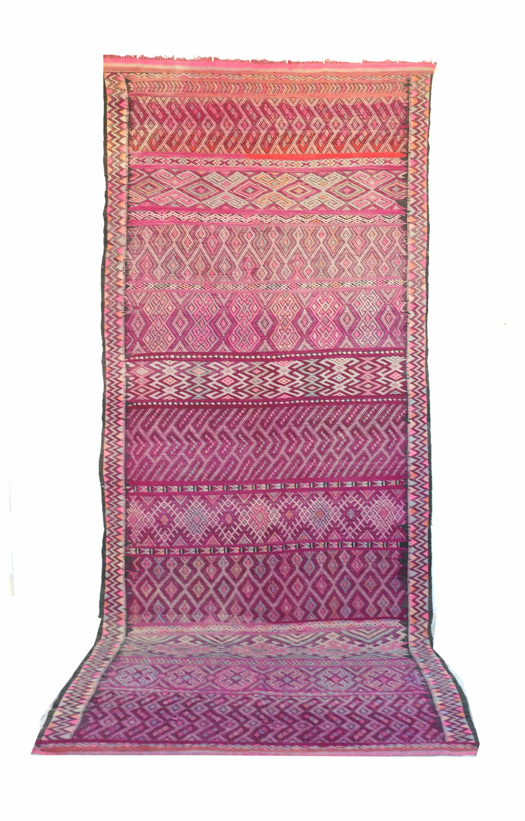 Beni M'Guild Vintage Moroccan Hand Knotted Wool Purple Area Rug