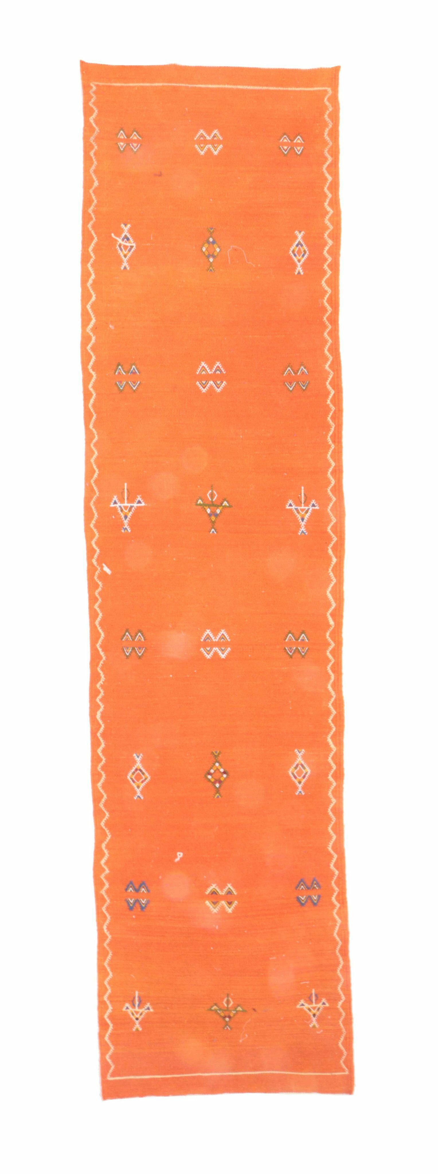 Aknif Moroccan Hand Knotted Wool Orange Area Rug