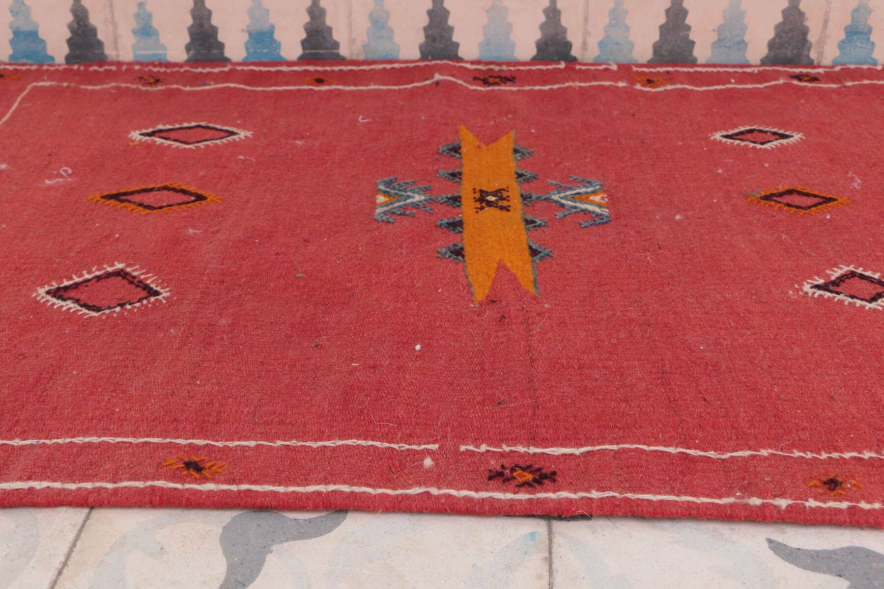 Aknif Moroccan Hand Knotted Wool Red/Orange Area Rug