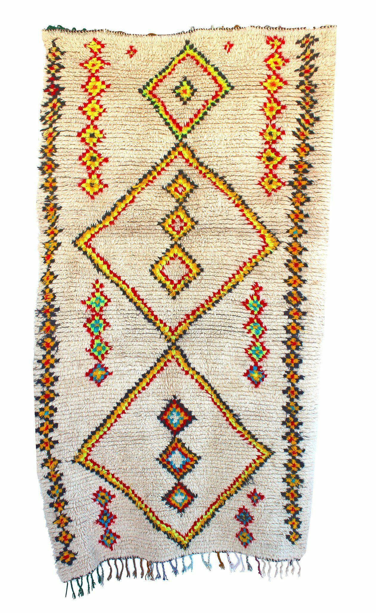 Ourika Vintage Moroccan Hand Knotted Wool Ivory/Yellow Are Rug