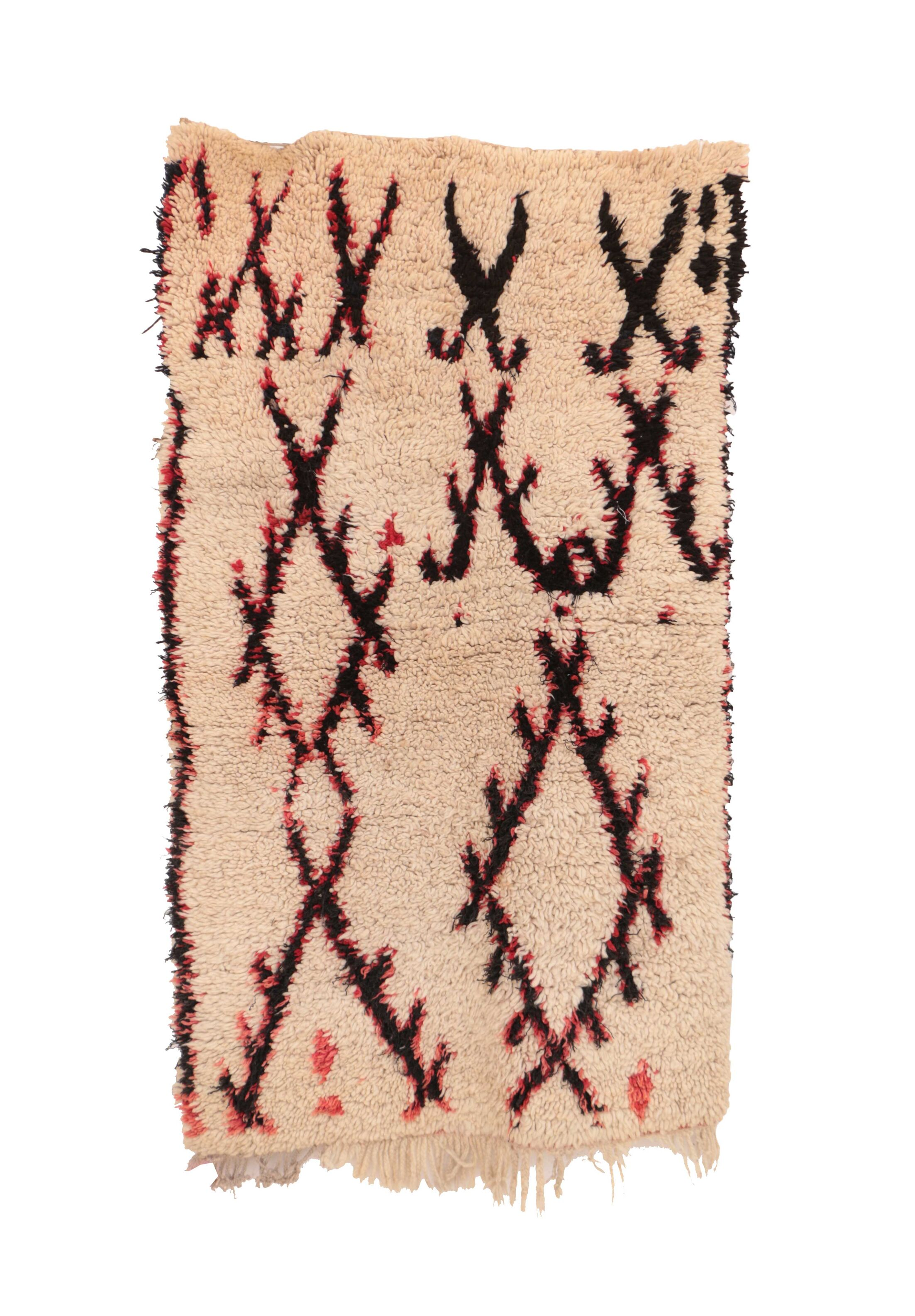 Boujad Vintage Moroccan Hand-Knotted Wool Ivory Area Rug