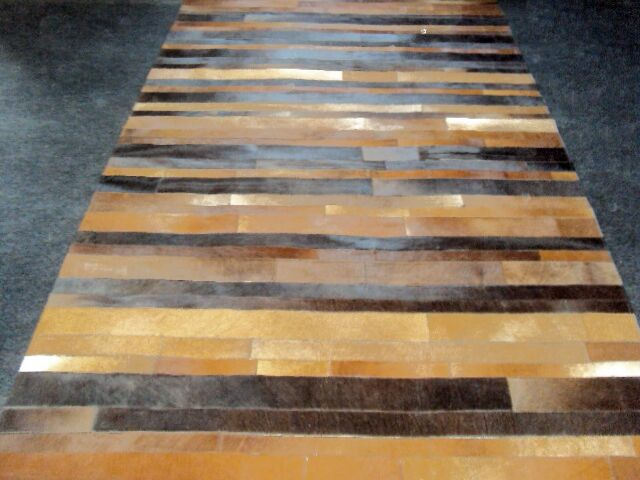 Patchwork Leather Stripe Brown Area Rug Rug Size: Rectangle 6' x 9'