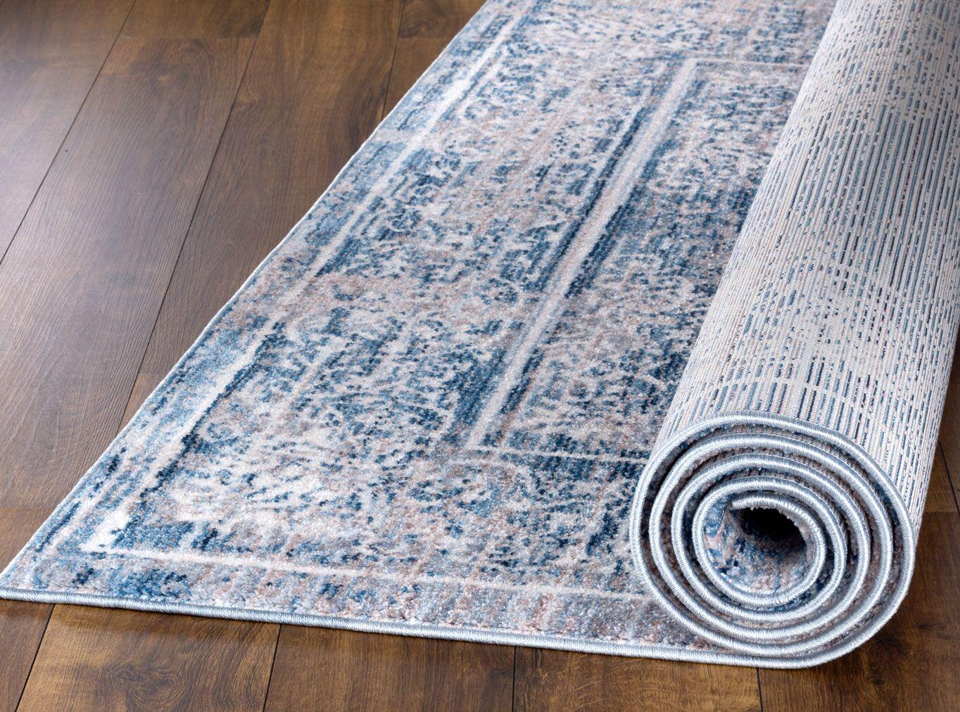 Andrews Vintage Kashan Blue Area Rug Rug Size: Rectangle 7'11