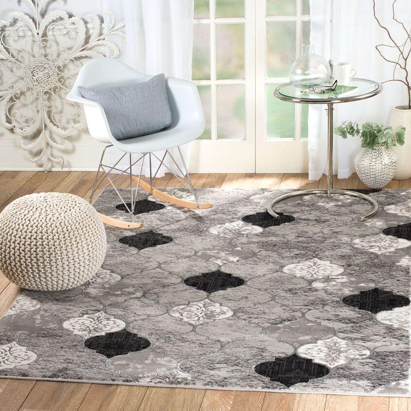 Tilbury Glamour Gray Area Rug Rug Size: 5'3