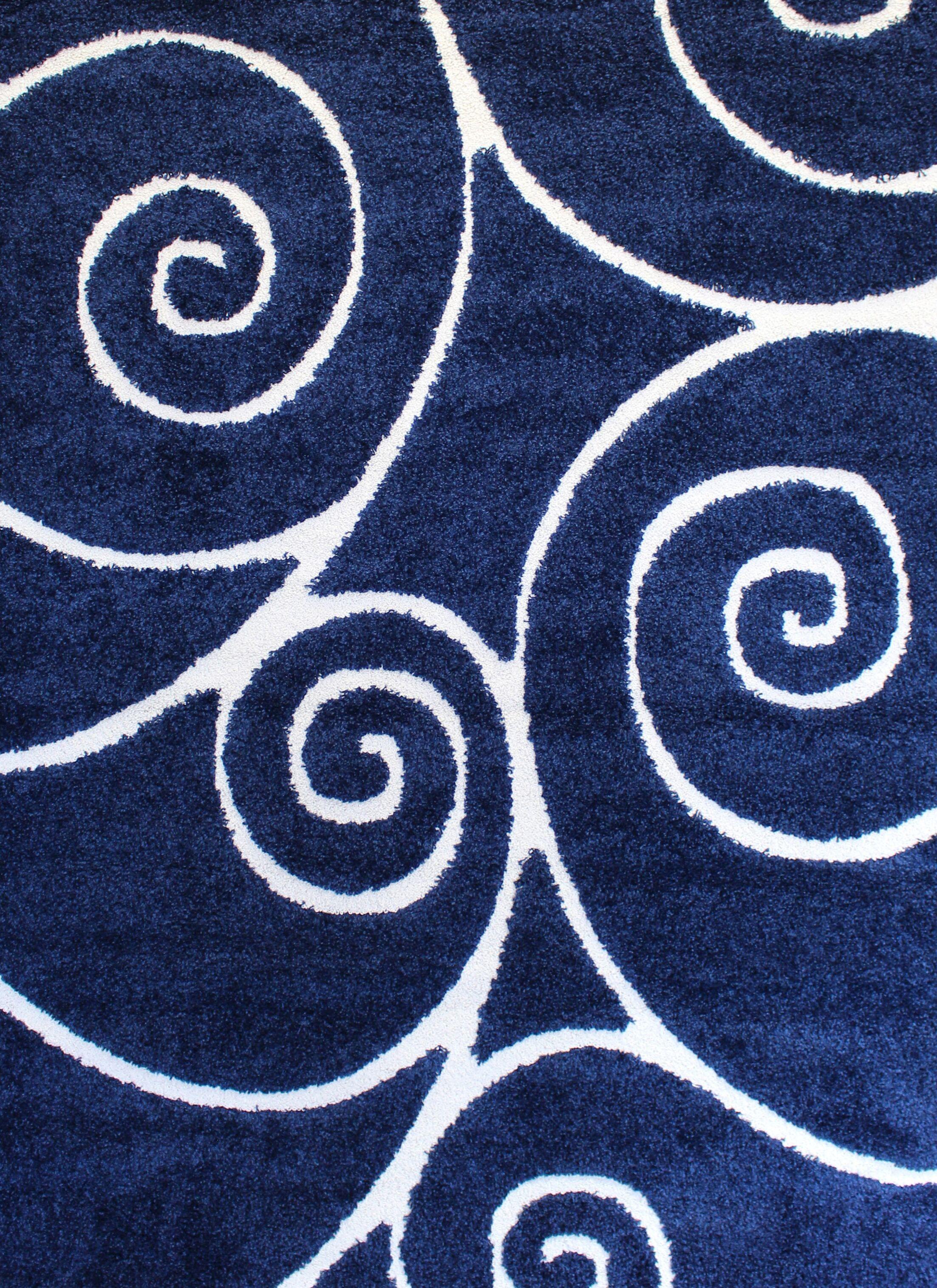 Quaoar Shaggy Swirls Navy Blue Area Rug Rug Size: 4' x 6'