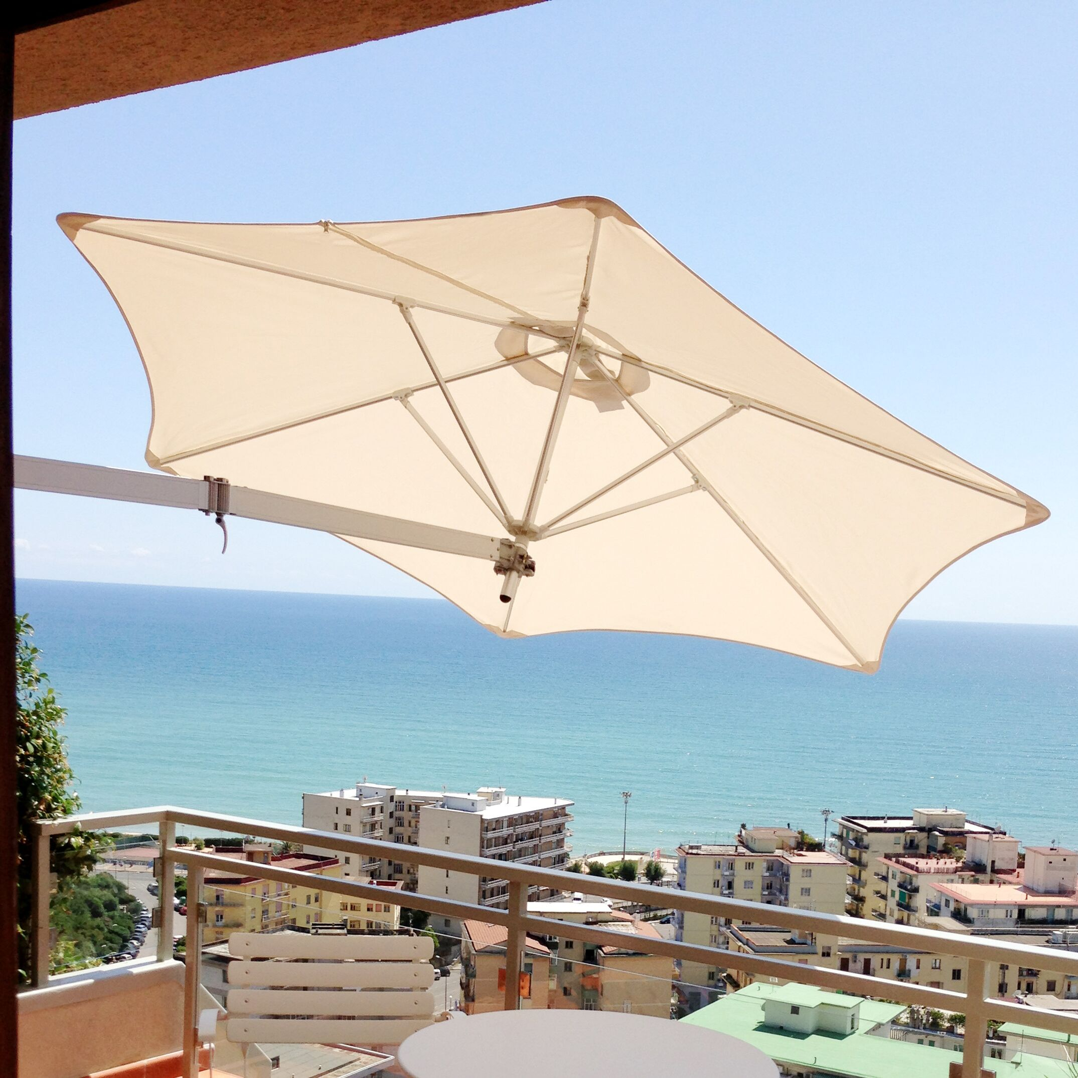 Paraflex 7' Wall Mount Umbrella Fabric: Sunbrella Acrylic - Taupe
