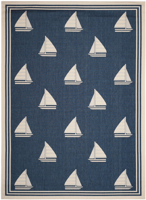 Bosworth Navy/Beige Indoor/Outdoor Area Rug Rug Size: Rectangle 5'3