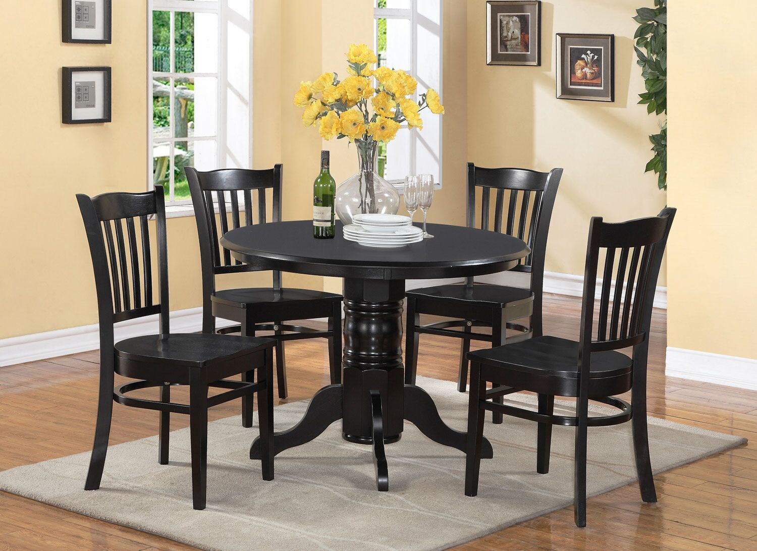Dining Table Sets Langwater Traditional 5 Piece Solid Wood Dining Set