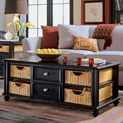 Wheelock 2 Drawer Coffee Table Color: Black