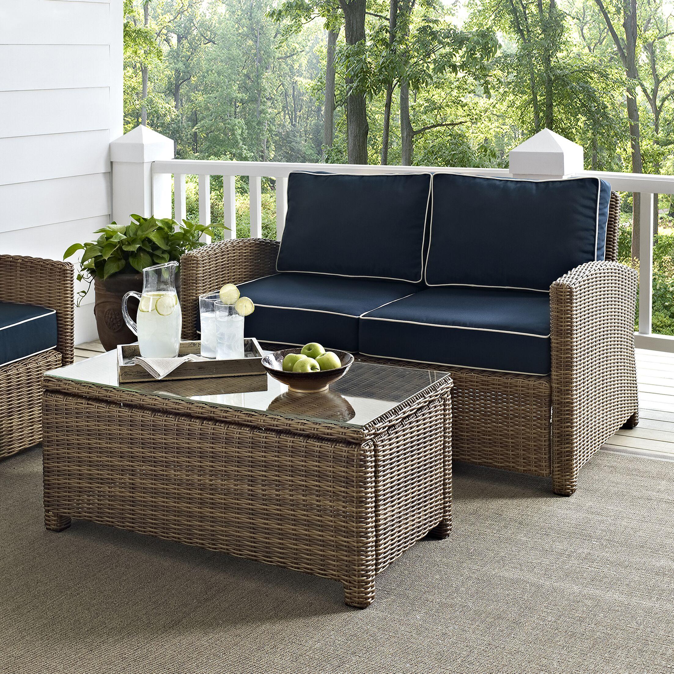 Dardel 2 Piece Sofa Set with Cushions Fabric: Navy