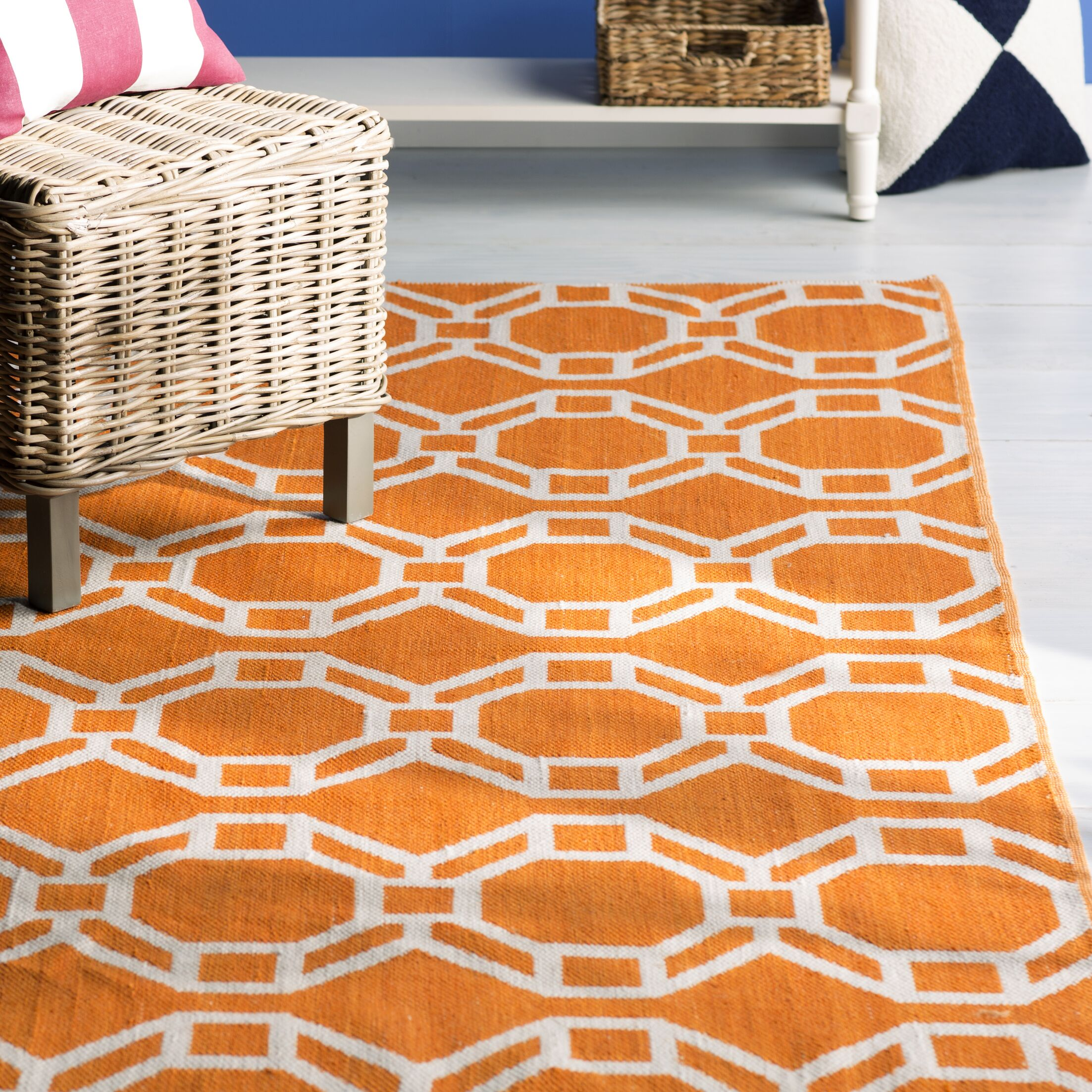 Fowler Orange/Cream Indoor/Outdoor Area Rug Rug Size: Rectangle 5' x 7'6