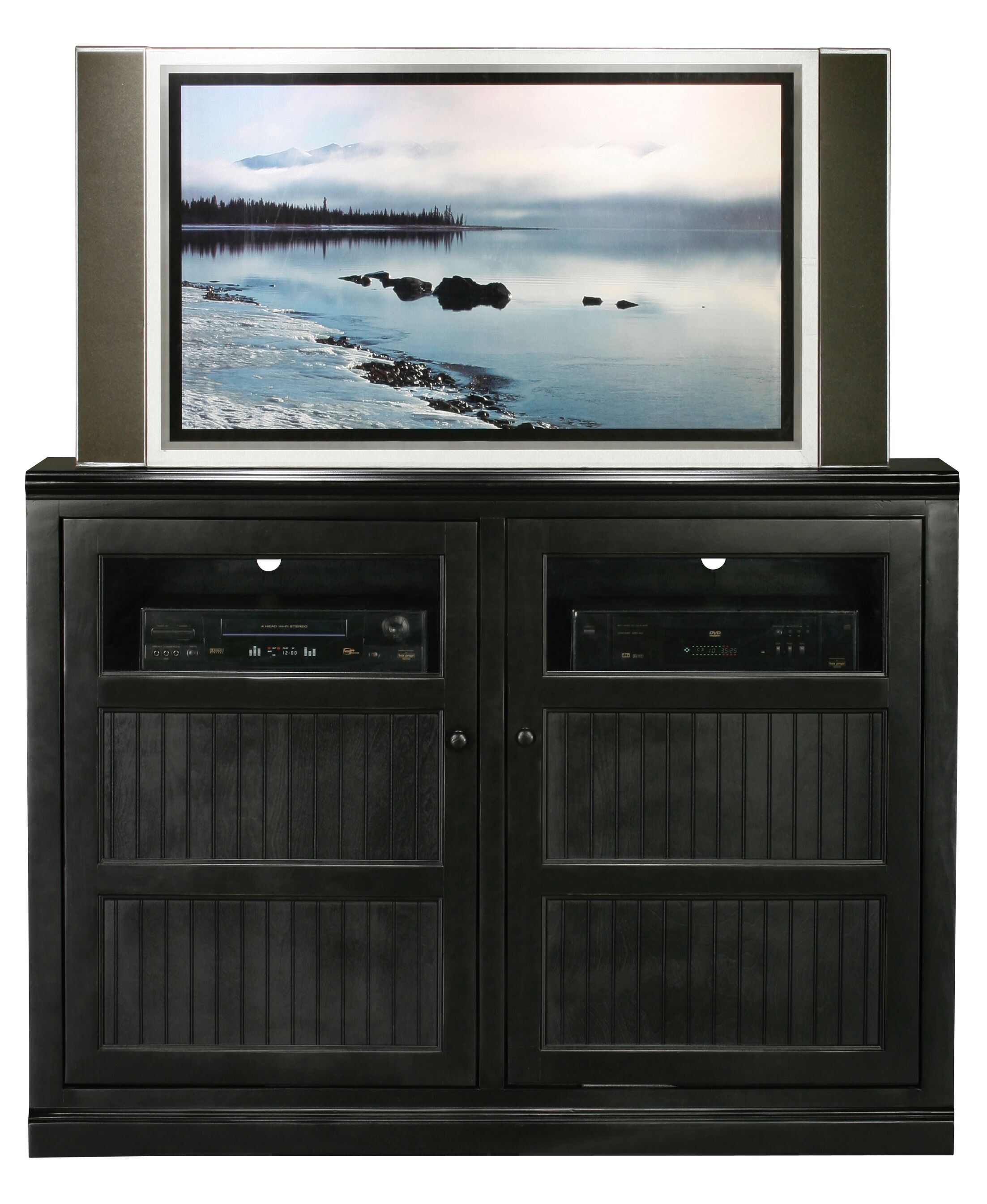 Didier Traditional Birchwood TV Stand Door Type: Glass, Color: Autumn Sage