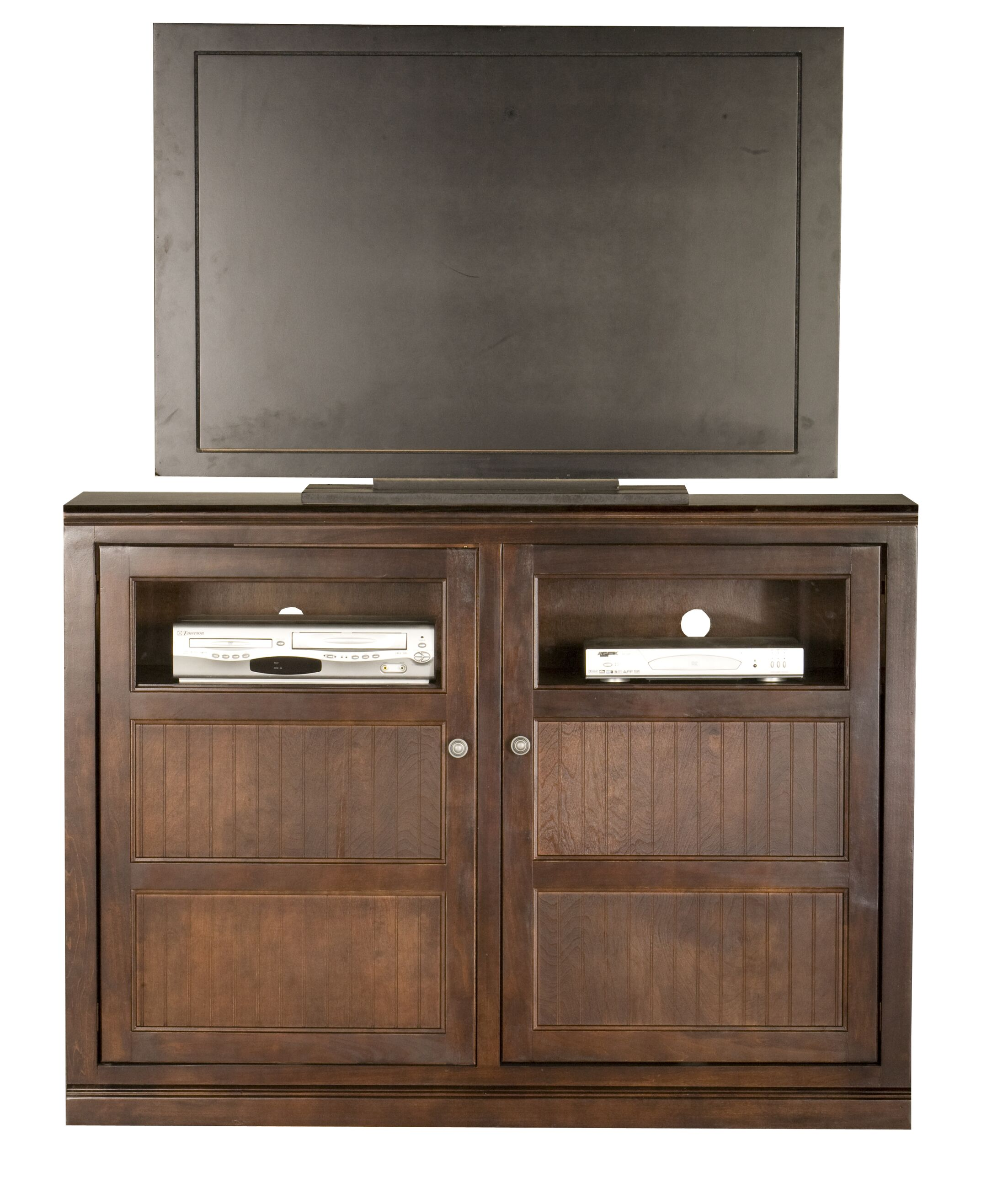 Didier Traditional Birchwood TV Stand Color: Caribbean Rum, Door Type: Glass
