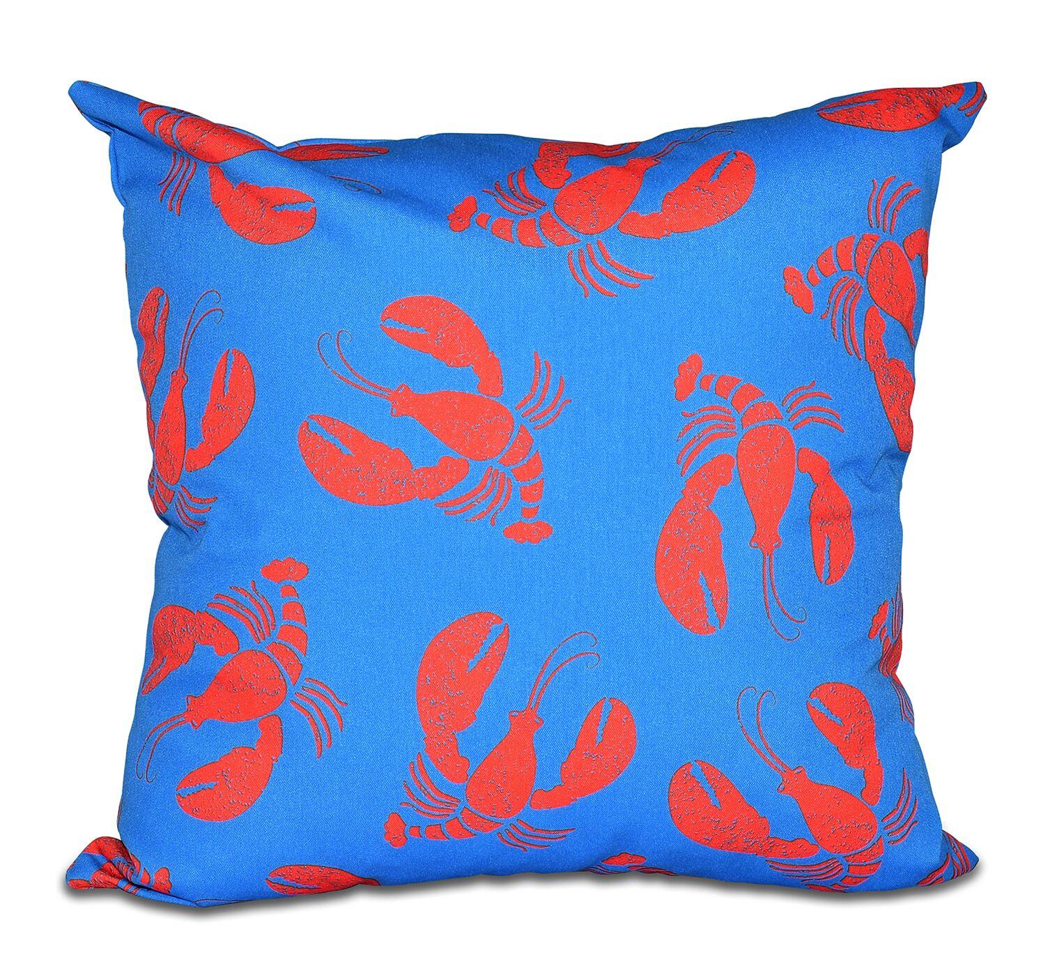 Bridgeport Lobster Fest Coastal Throw Pillow Color: Taupe/Beige, Size: 20