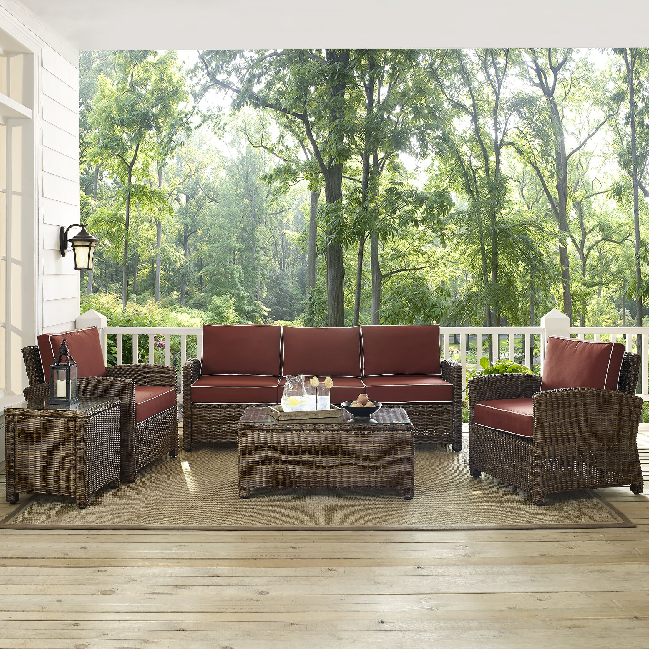 Dardel 5 Piece Rattan Sofa Set  with Cushions Fabric: Sangria