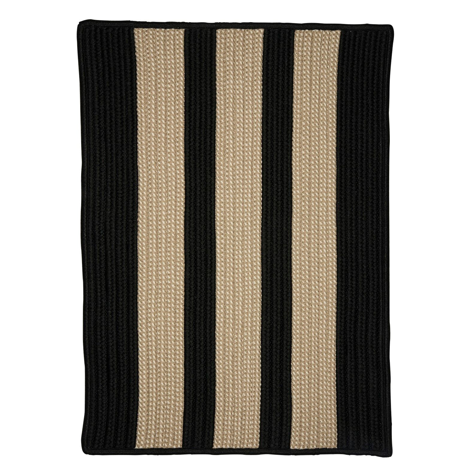 Seal Harbor Hand-Woven Black/Beige Area Rug Rug Size: Square 12'