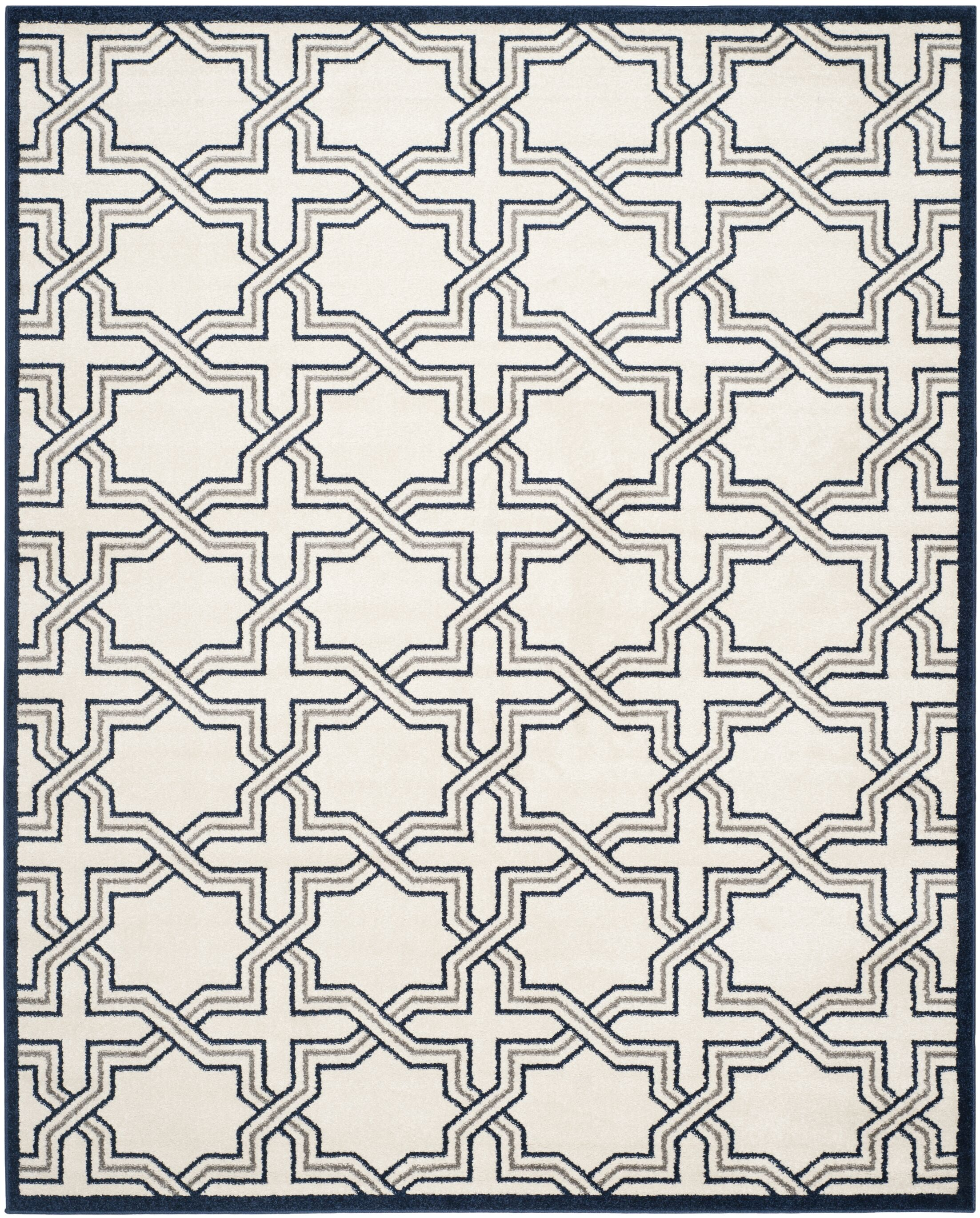 McArthur Ivory/Navy Indoor/Outdoor Area Rug Rug Size: Rectangle 9' x 12'